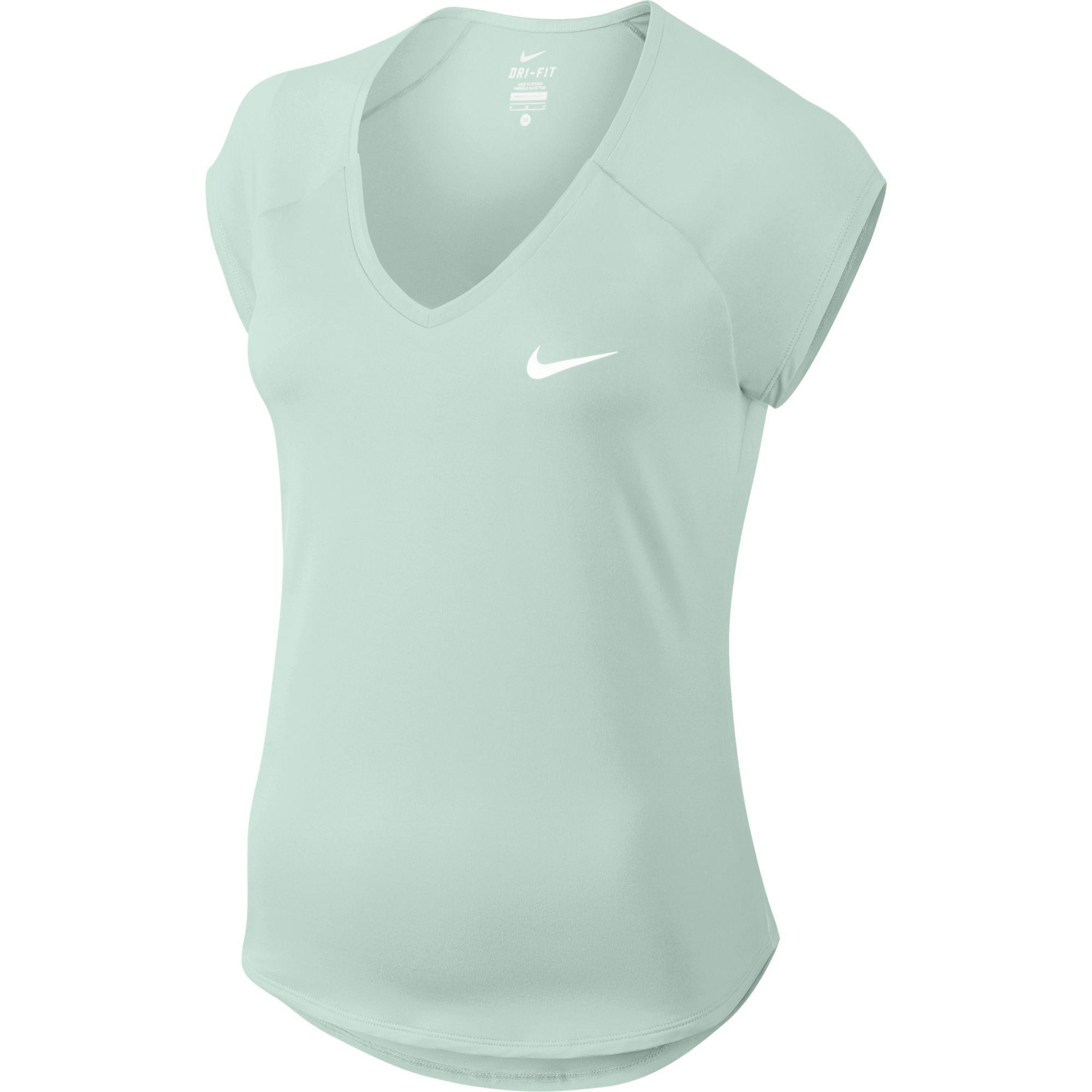 de3549ff819f Nike Womens Pure Cap Sleeve 'V' Top - Igloo/White - Tennisnuts.com