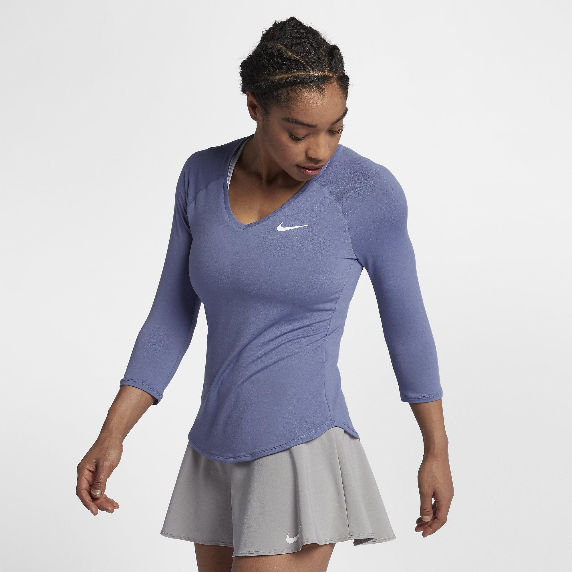 163240d29a816 Nike Womens Pure Long-Sleeve  V  Top - Purple Slate White ...