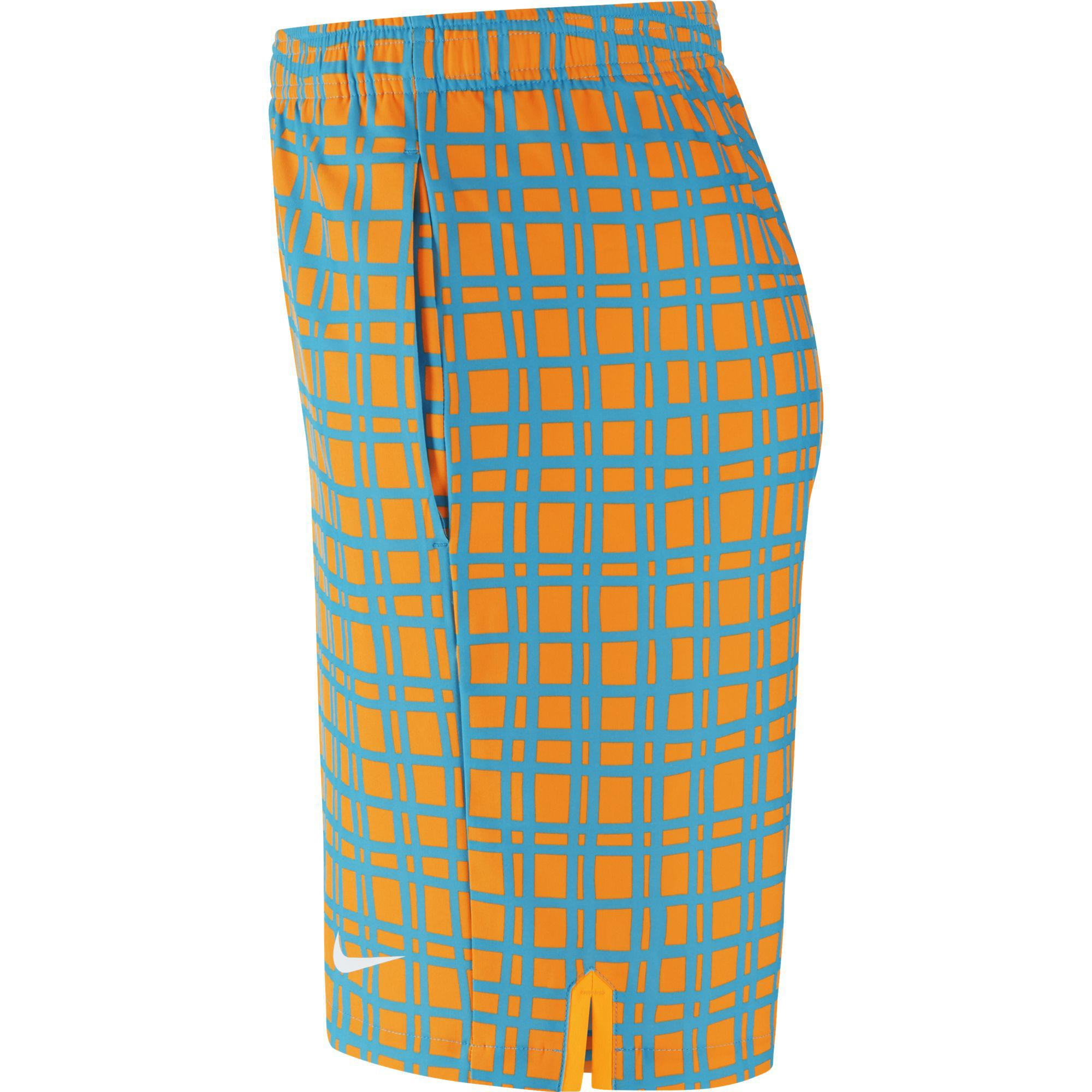 Out Of Stock. Nike Mens Court Plaid 9 Inch Tennis Shorts - Orange/Blue ...