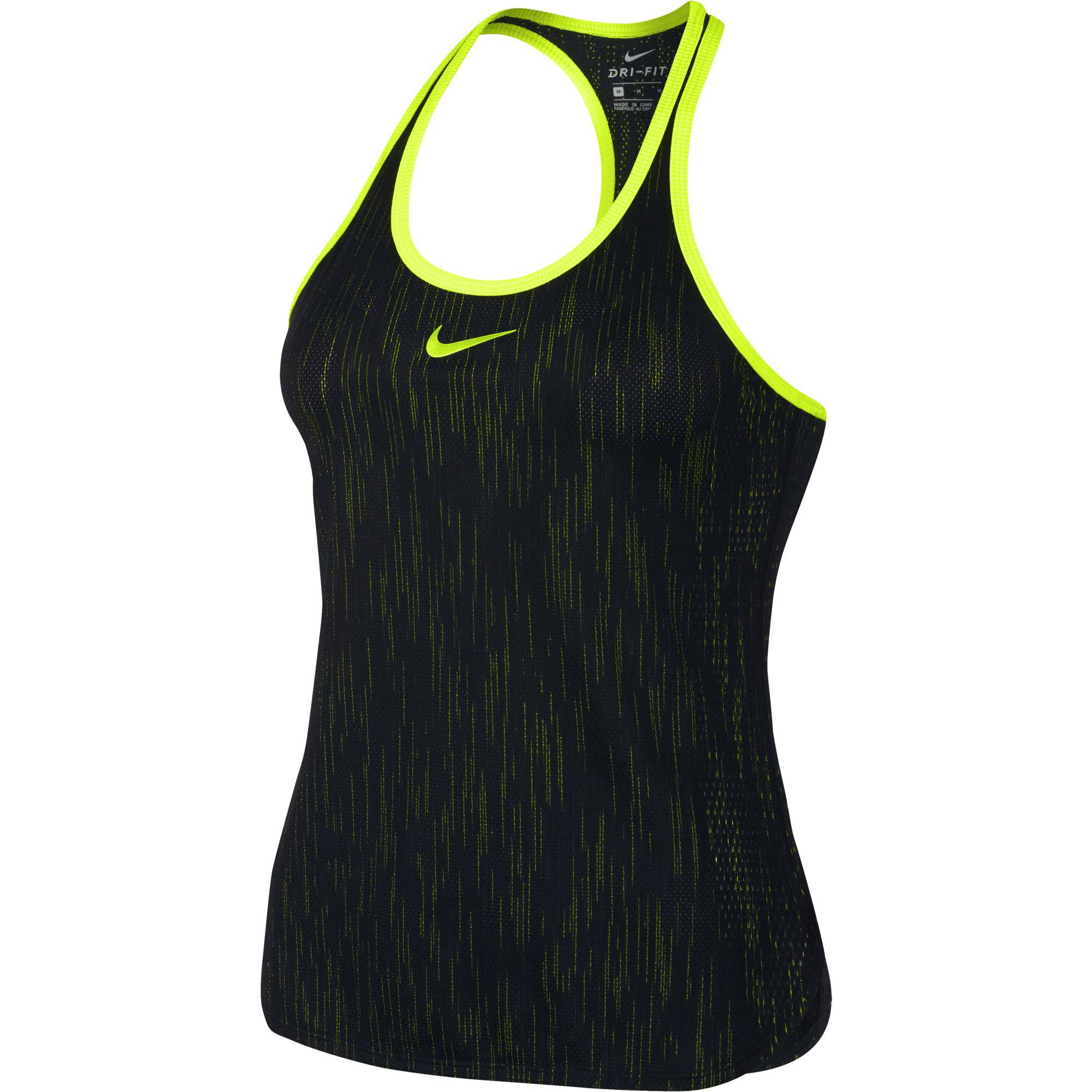 e2a3f47b Nike Womens Flex Dry Slam Tank Top - Black/Volt - Tennisnuts.com