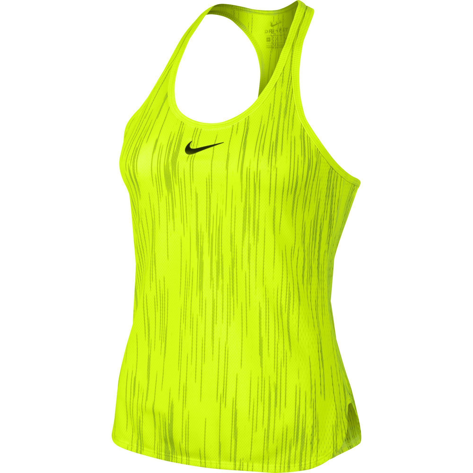 f8d296e1 Nike Womens Flex Dry Slam Tank Top - Volt/Black - Tennisnuts.com