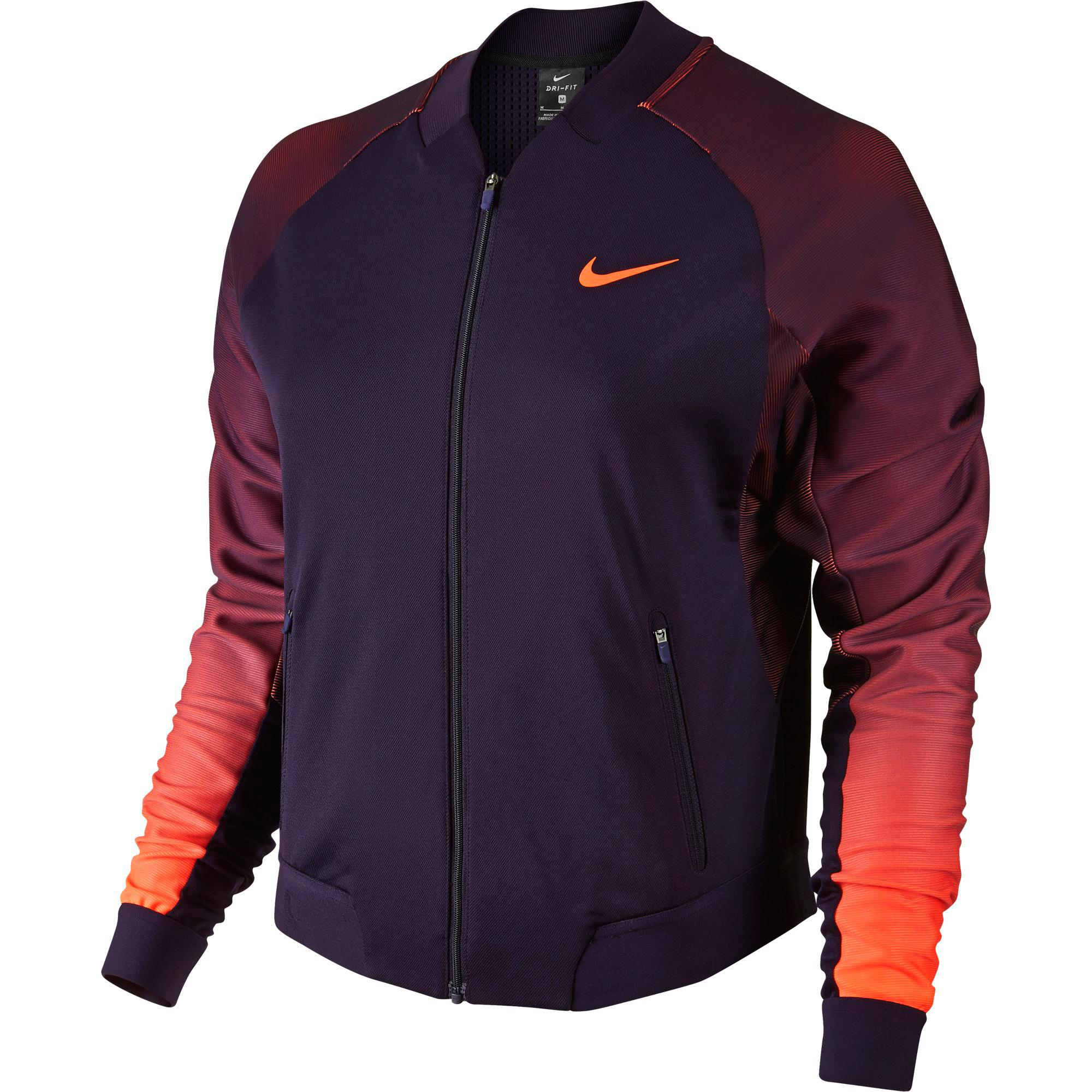 87b93bf7084a Nike Womens Court Tennis Jacket - Purple Bright Mango - Tennisnuts.com