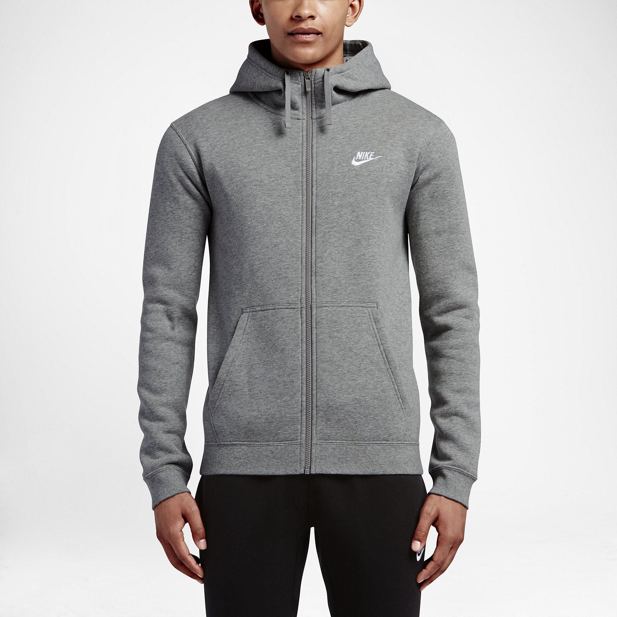 8511be8c9b81 Nike Mens Sportswear Full-Zip Hoodie - Dark Grey Heather - Tennisnuts.com