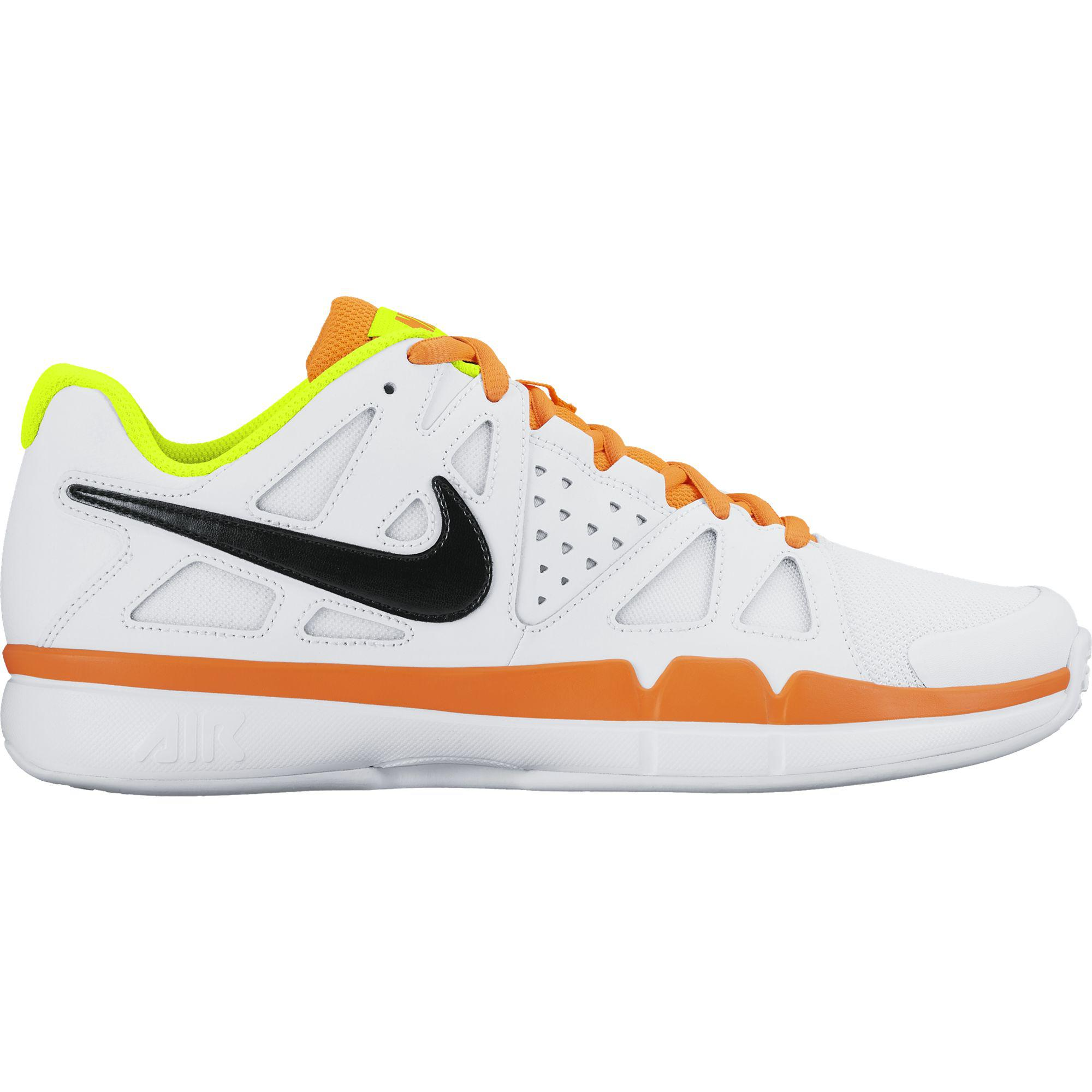 Nike Mens Air Vapor Advantage Omni Court Tennis Shoes - White/Volt/Total  Orange