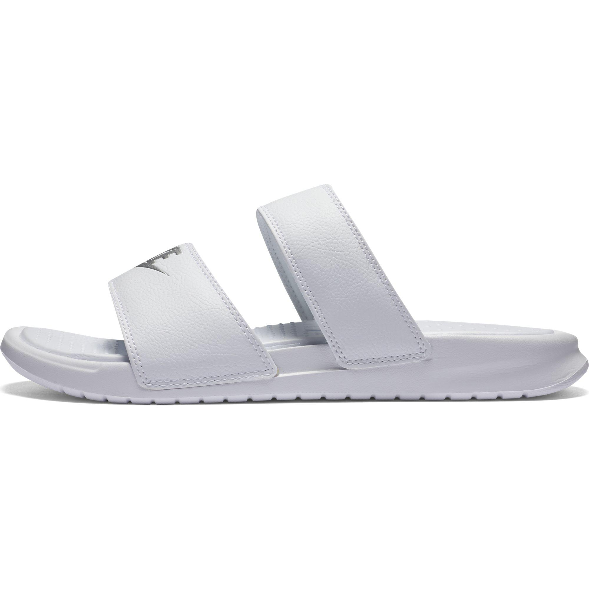 8560c3729411 Nike Womens Benassi Duo Ultra Slide Sandal - White Metallic Silver ...