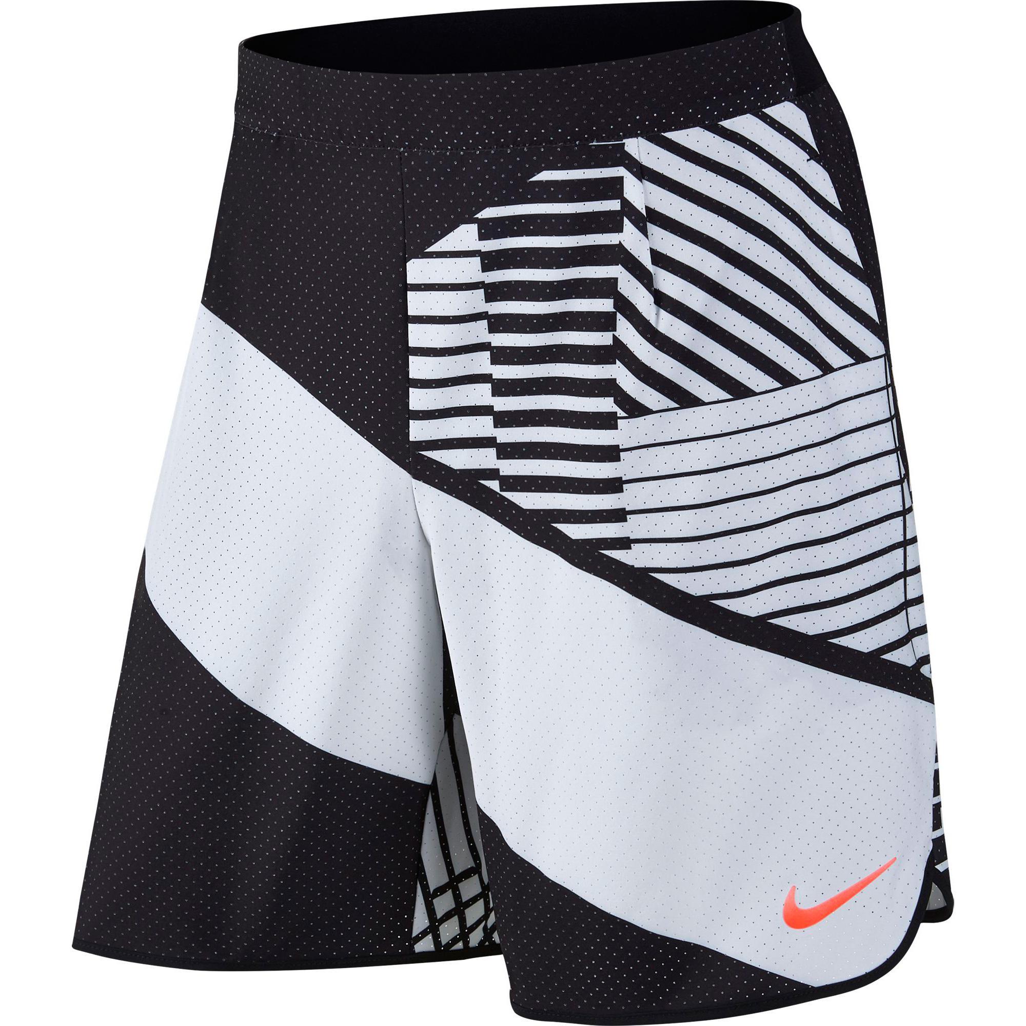 Nike Mens Flex 9 Inch Tennis Shorts - White Black - Tennisnuts.com 11ac208f4adc