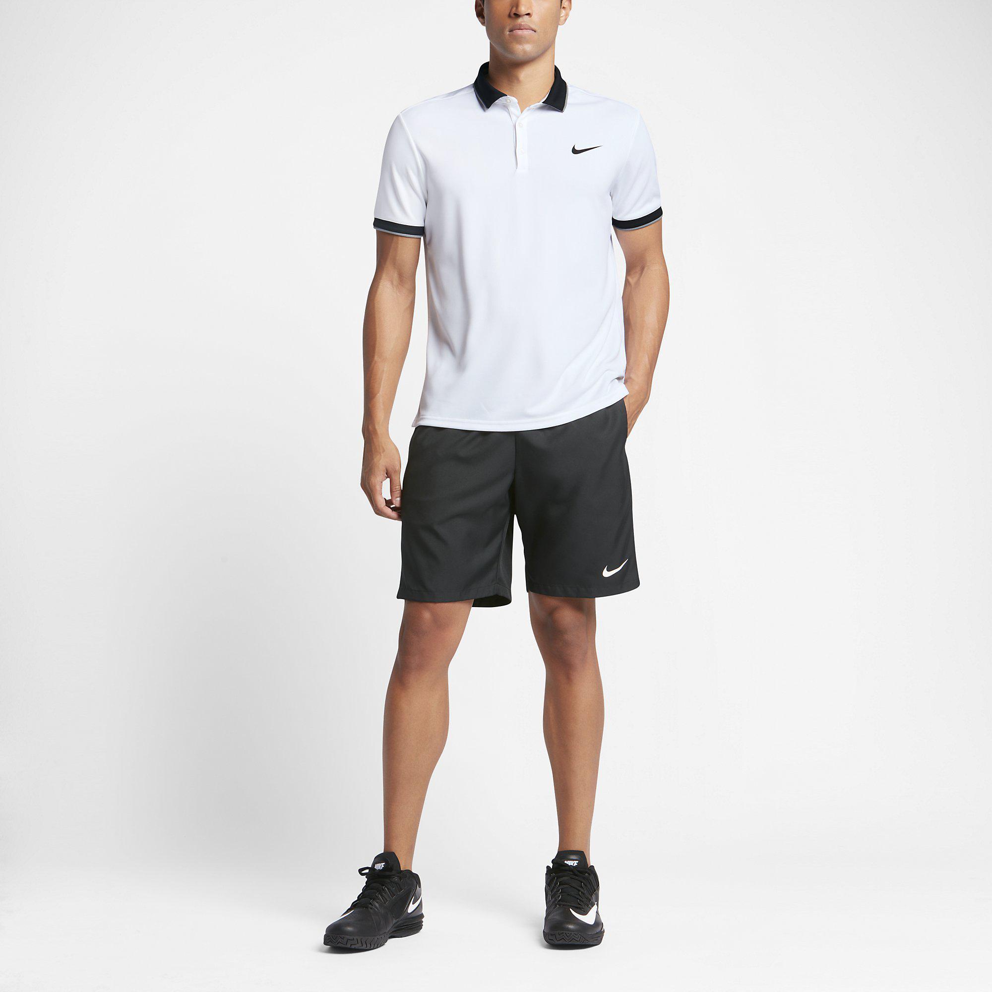 1a3a904fb Nike Mens Dry Tennis Polo - White/Black - Tennisnuts.com