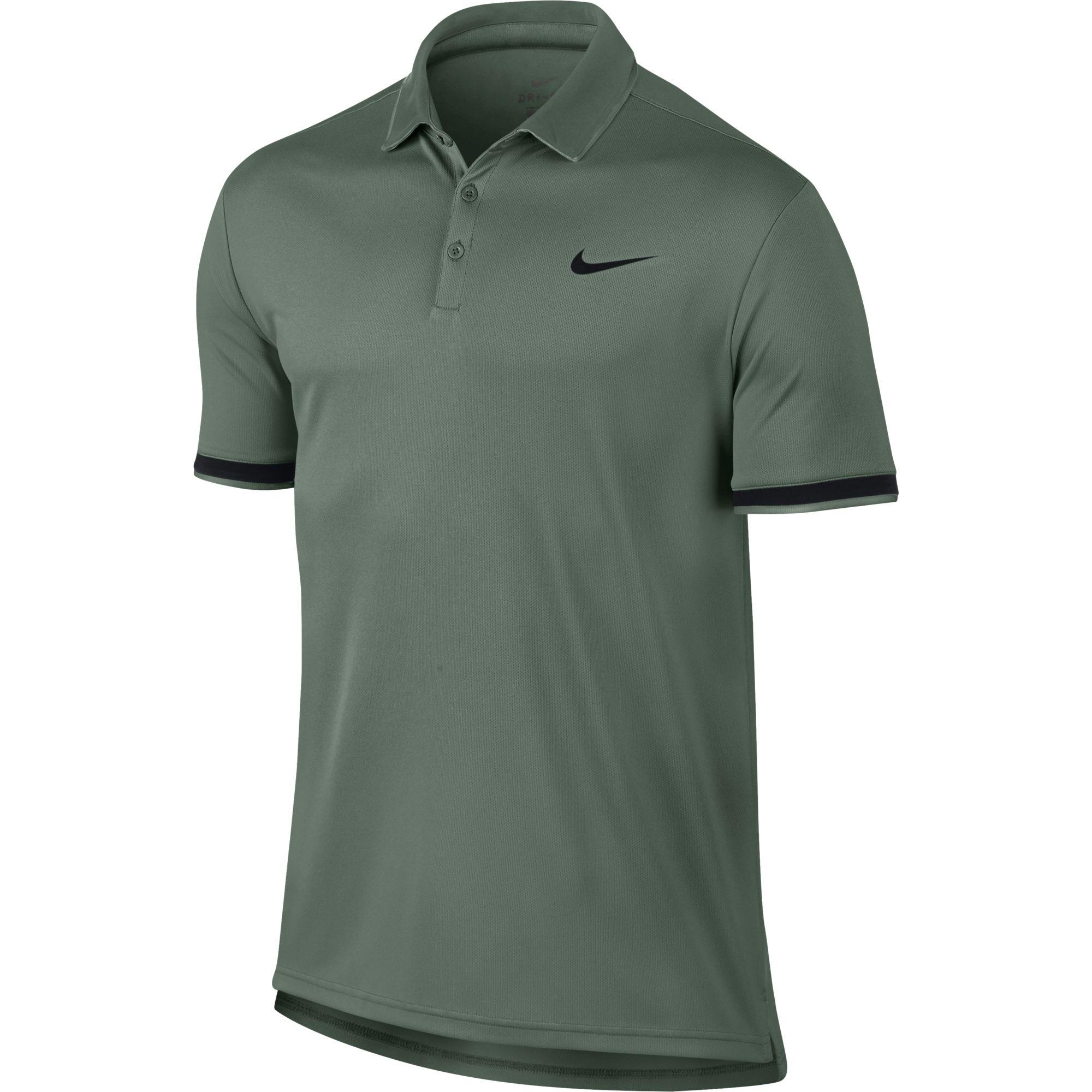 c5af06c9 Nike Mens Dry Tennis Polo - Clay Green/Black - Tennisnuts.com