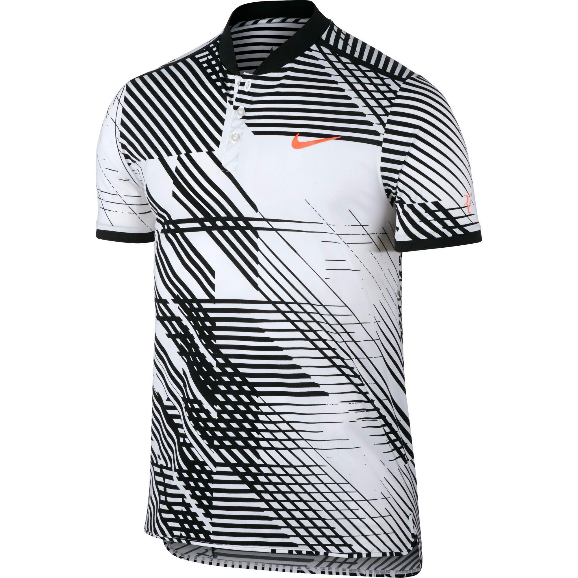 dcd85d560ec Nike Mens RF Advantage Tennis Polo - White Black - Tennisnuts.com