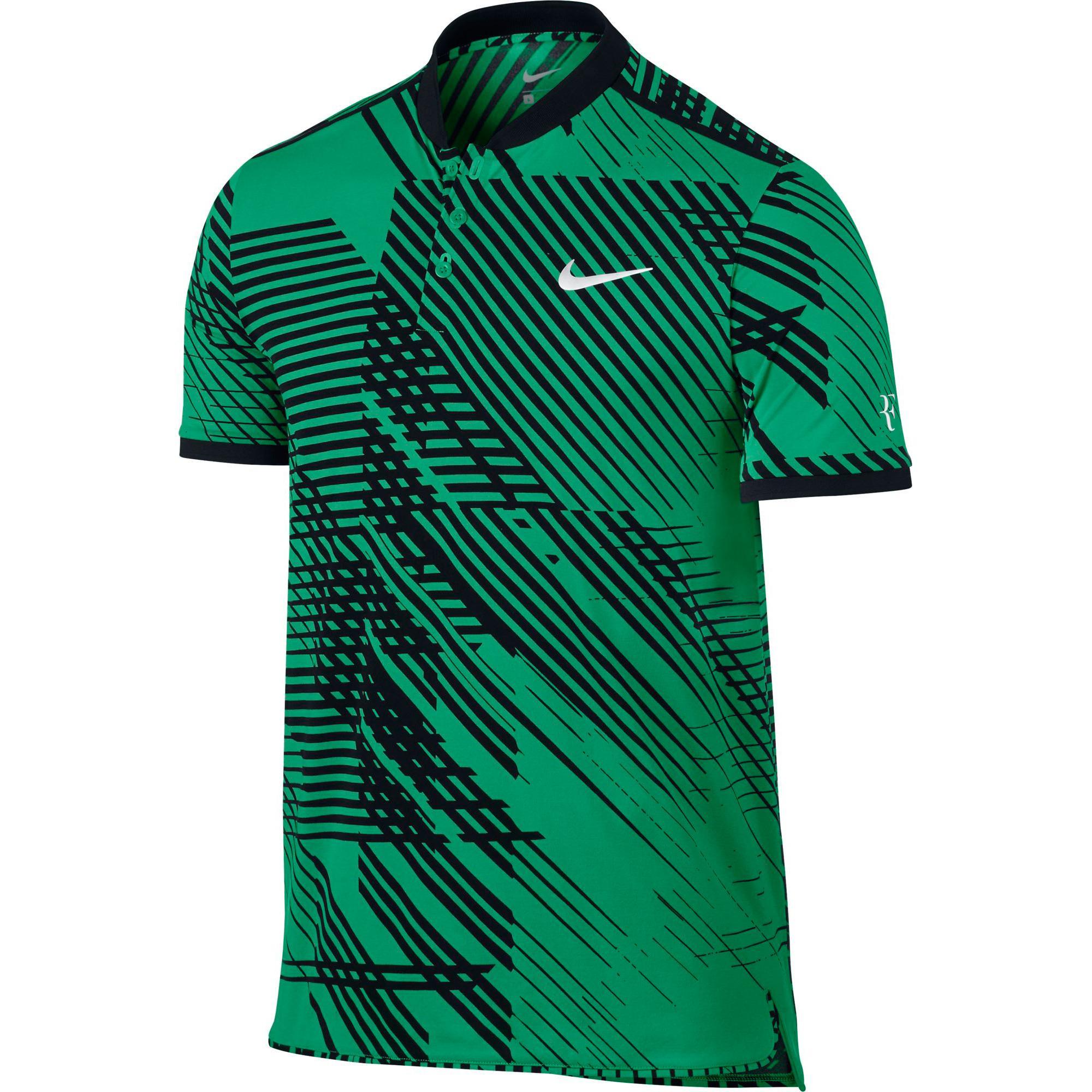 new york 23395 df834 Nike Mens RF Advantage Tennis Polo - Stadium GreenBlack - Tennisnuts.com
