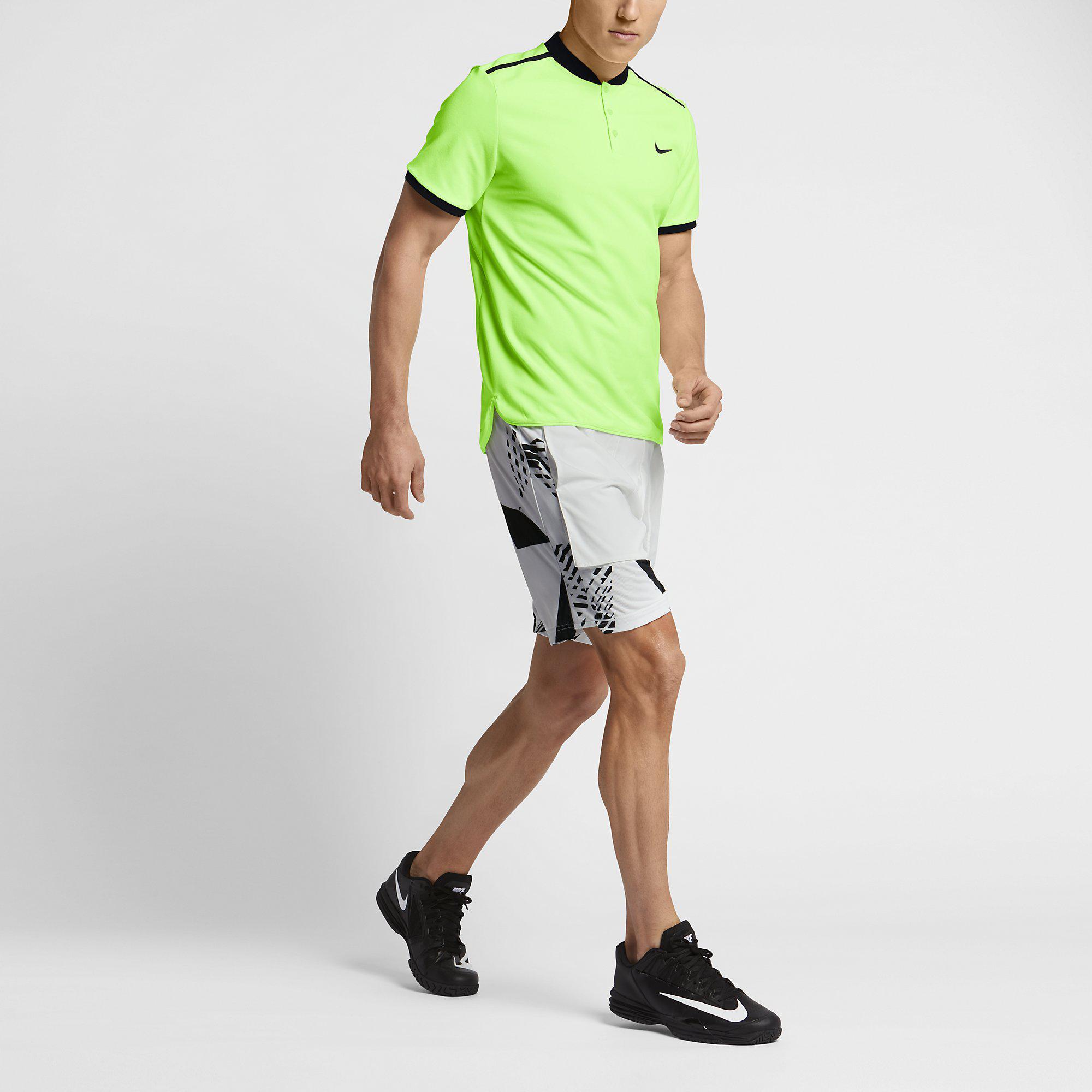 Nike Mens Dry 9 Inch Tennis Shorts - White/Black - Tennisnuts.com