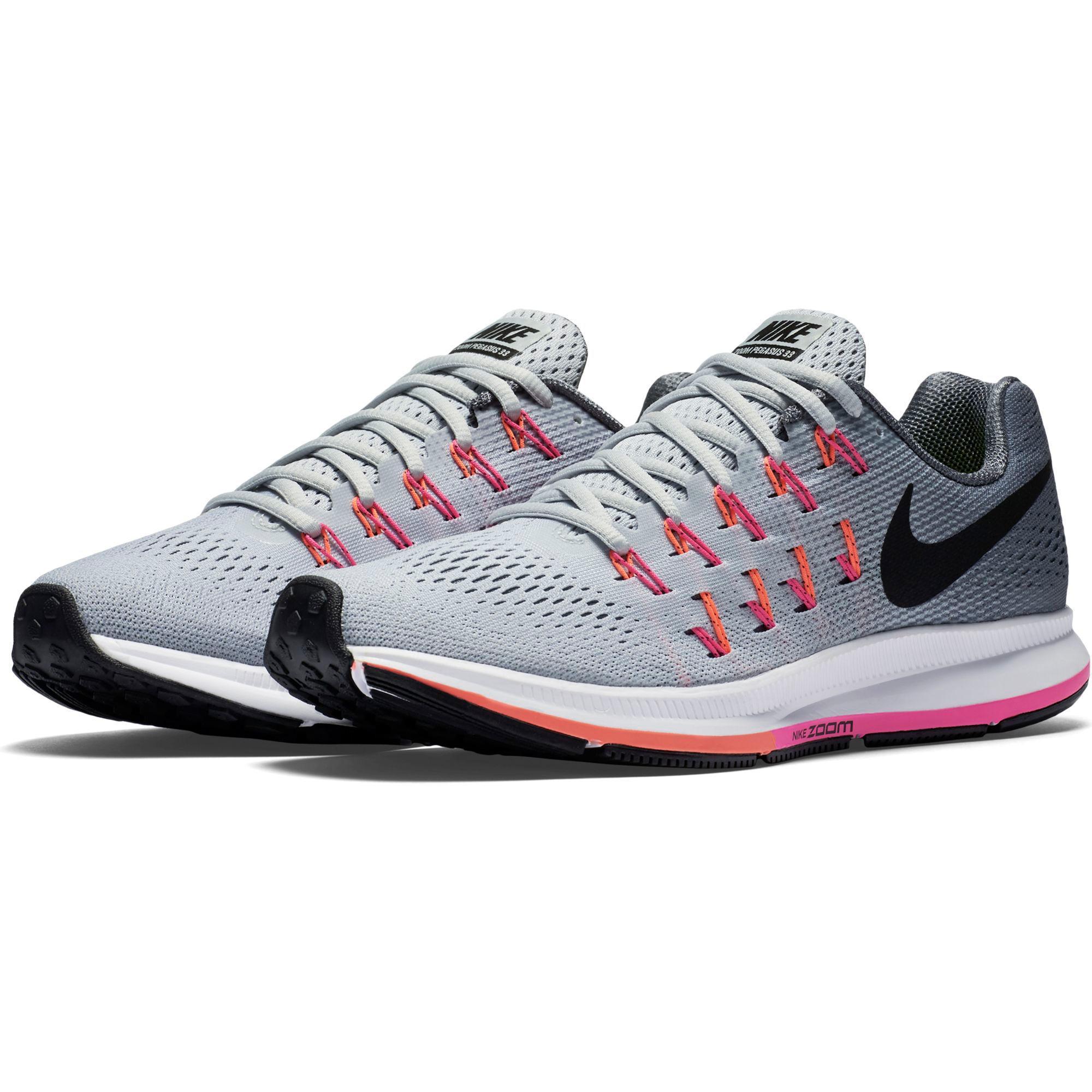 nike womens air zoom pegasus 33 running shoes grey pink. Black Bedroom Furniture Sets. Home Design Ideas
