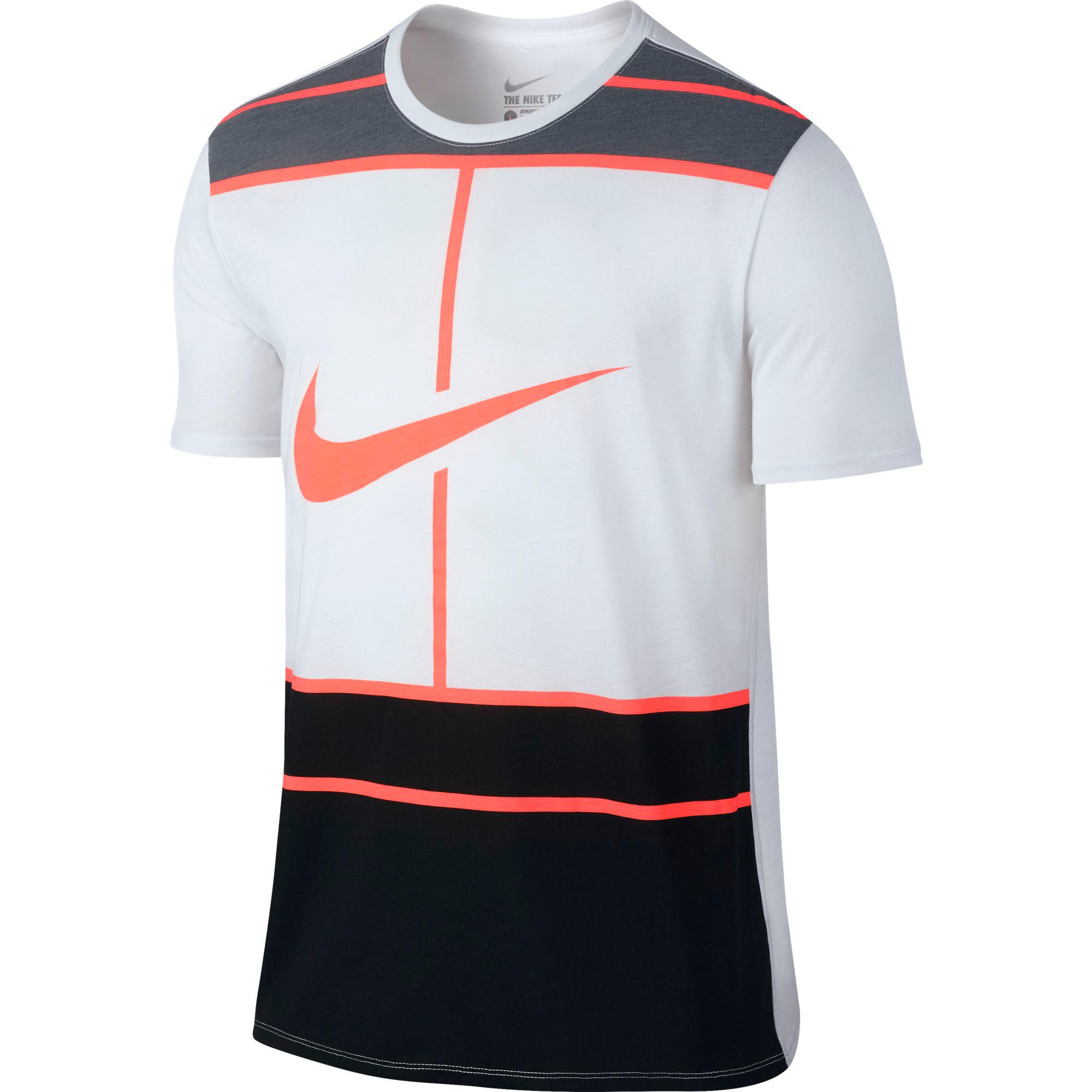 nike mens dry tennis t shirt white bright mango. Black Bedroom Furniture Sets. Home Design Ideas