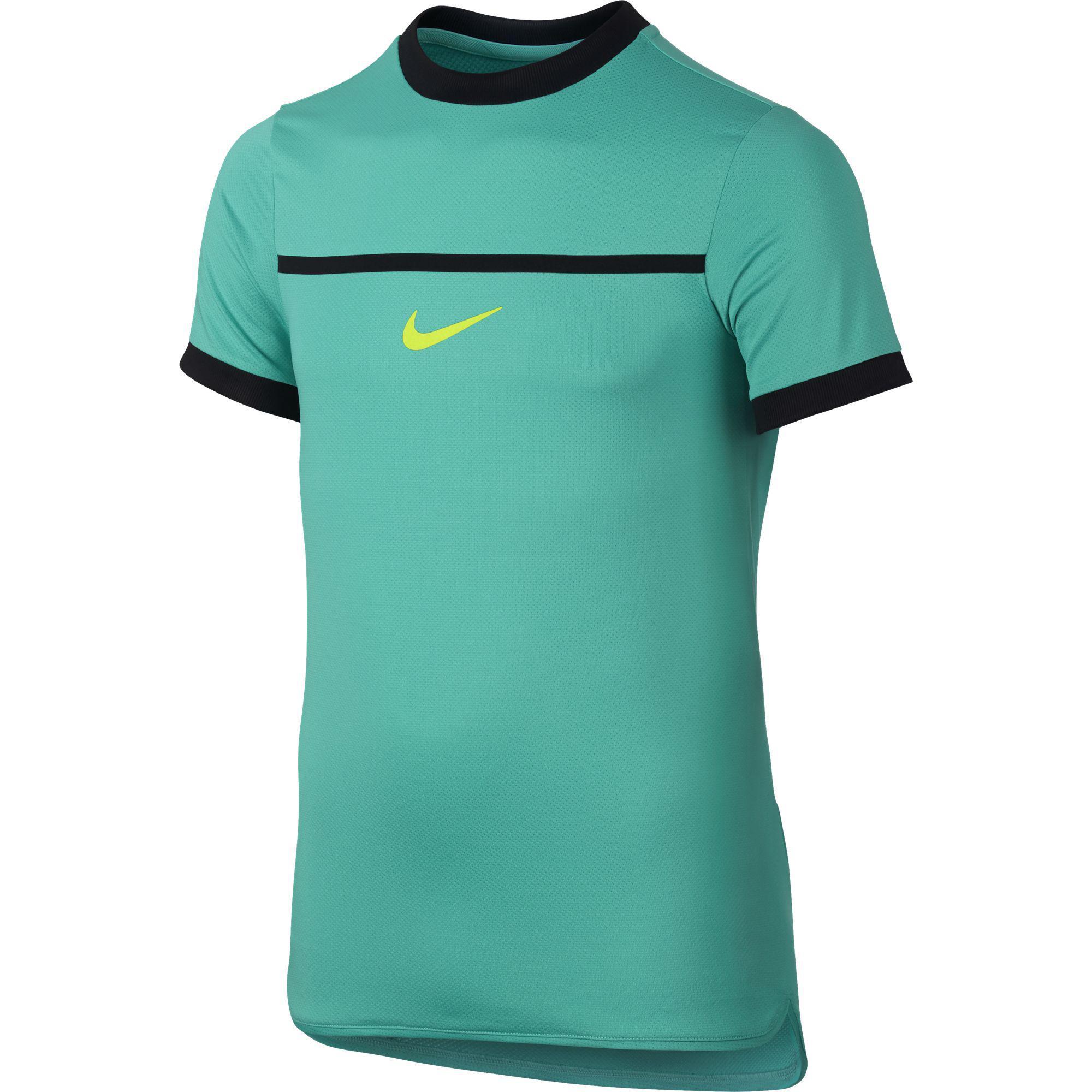sale retailer f84aa ef4f8 Nike Boys Challenger Premier Rafa Crew - Hyper JadeBlack - Tennisnuts.com