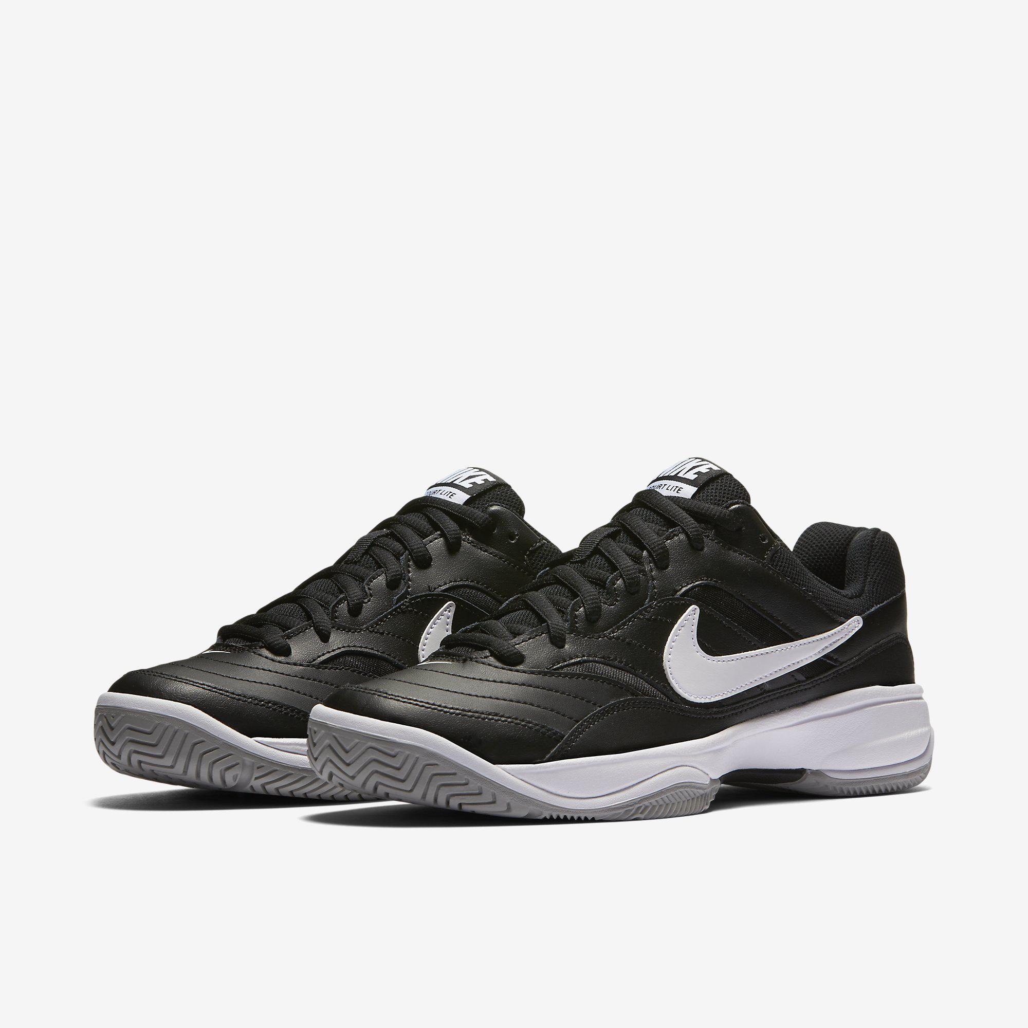 Nike Mens Court Lite Tennis Shoes - Black/White ...
