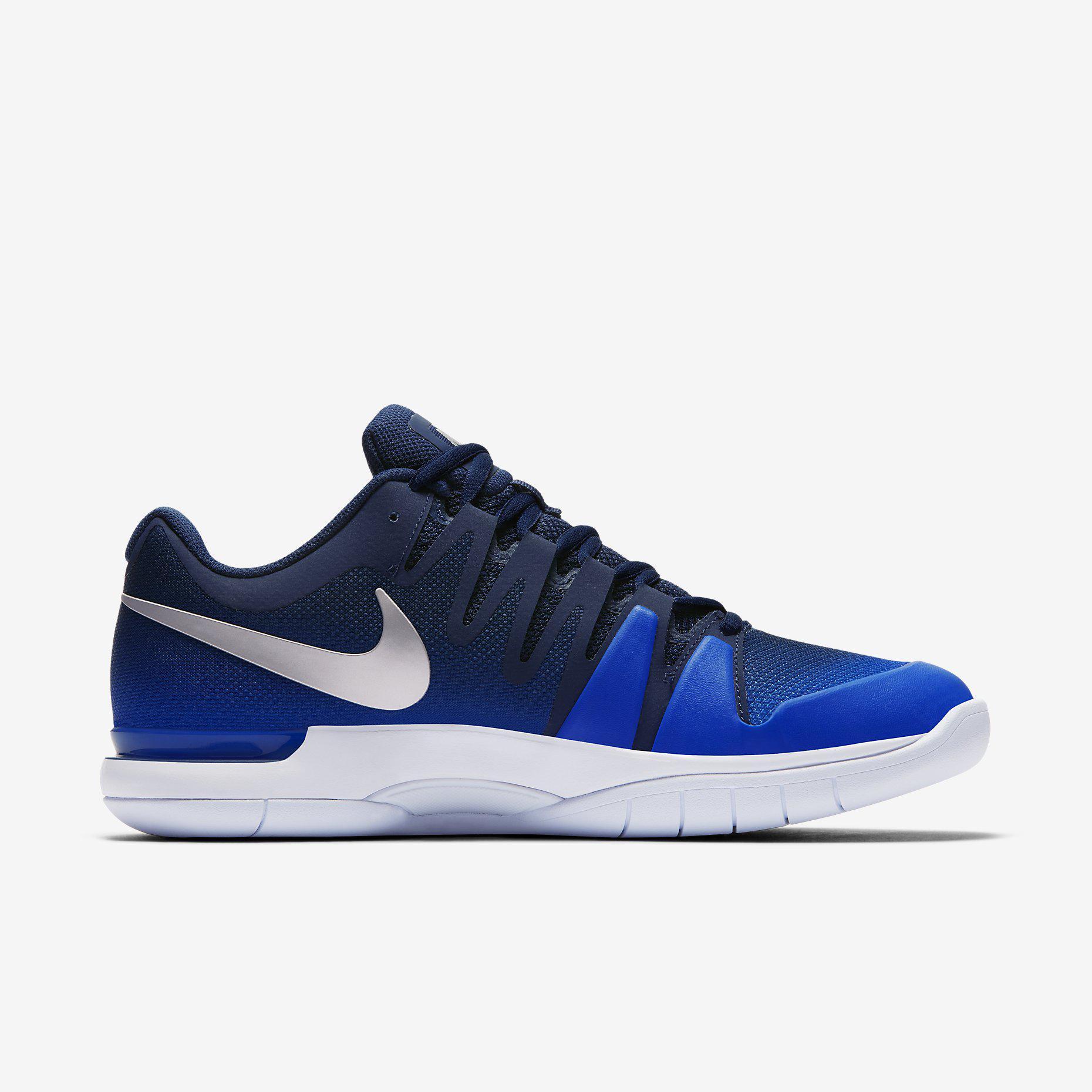 2eba1f0bf09b9 Nike Mens Court Zoom Vapor 9.5 Tour Carpet Tennis Shoes - Midnight Navy Metallic  Silver