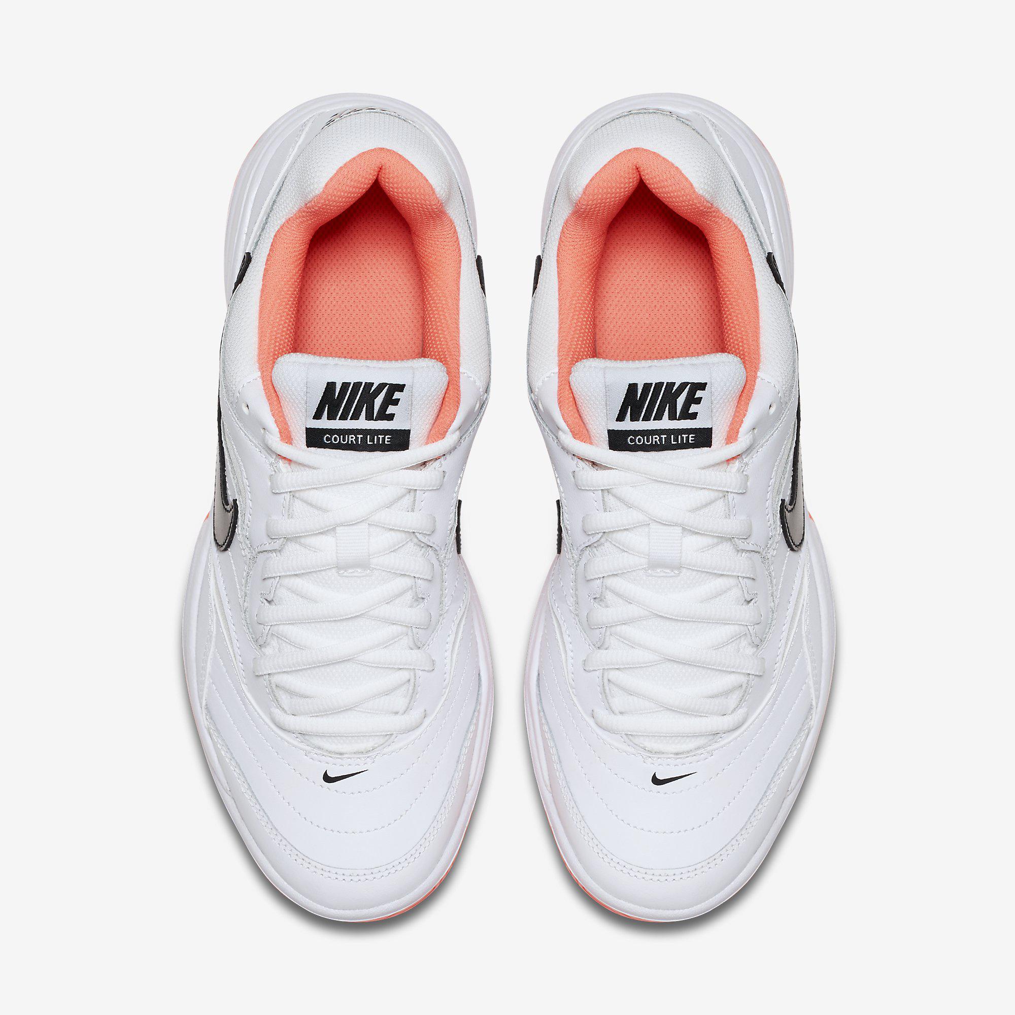 dca2d97cc51 Nike Womens Court Lite Tennis Shoes - White Bright Mango ...