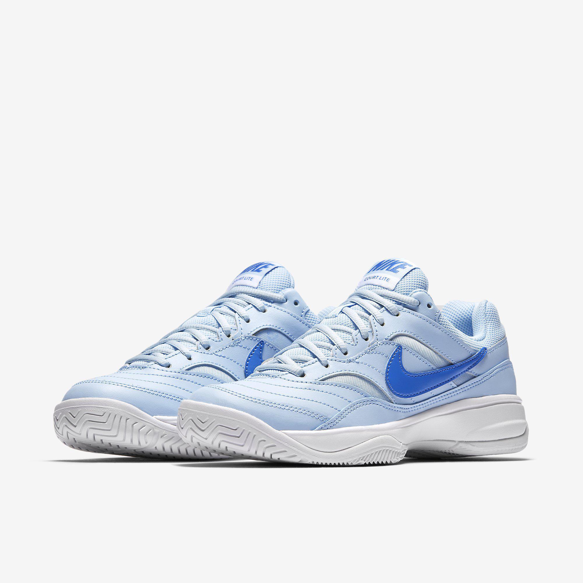 a0fe73a0de0d Nike Womens Court Lite Tennis Shoes - Ice Blue White - Tennisnuts.com