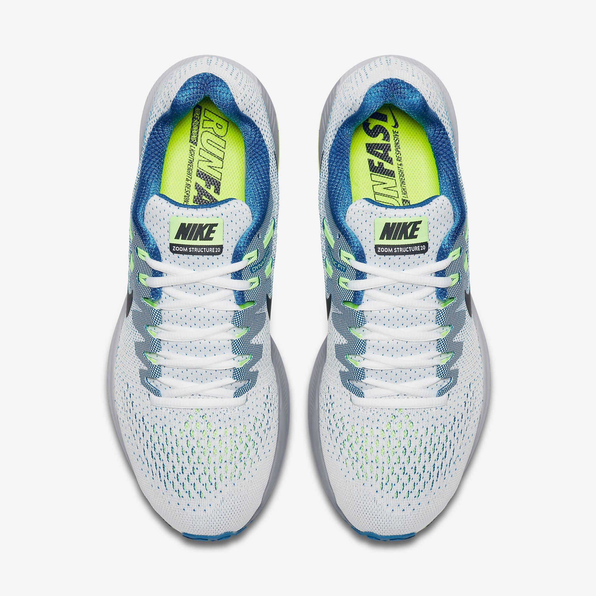 on sale b2360 43211 Nike Mens Air Zoom Structure 20 Running Shoes - White Blue