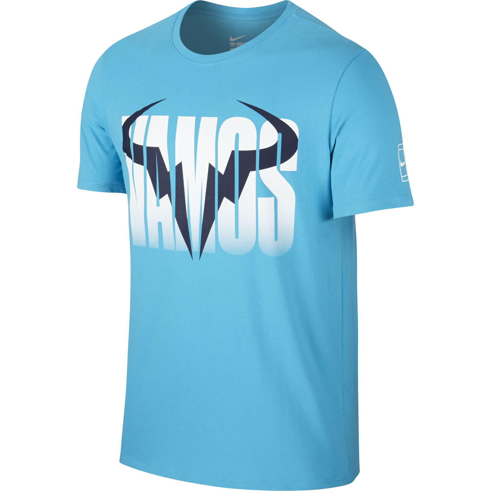 39510dd96 Nike Mens Rafa Crew Short Sleeve Tee - Omega Blue - Tennisnuts.com