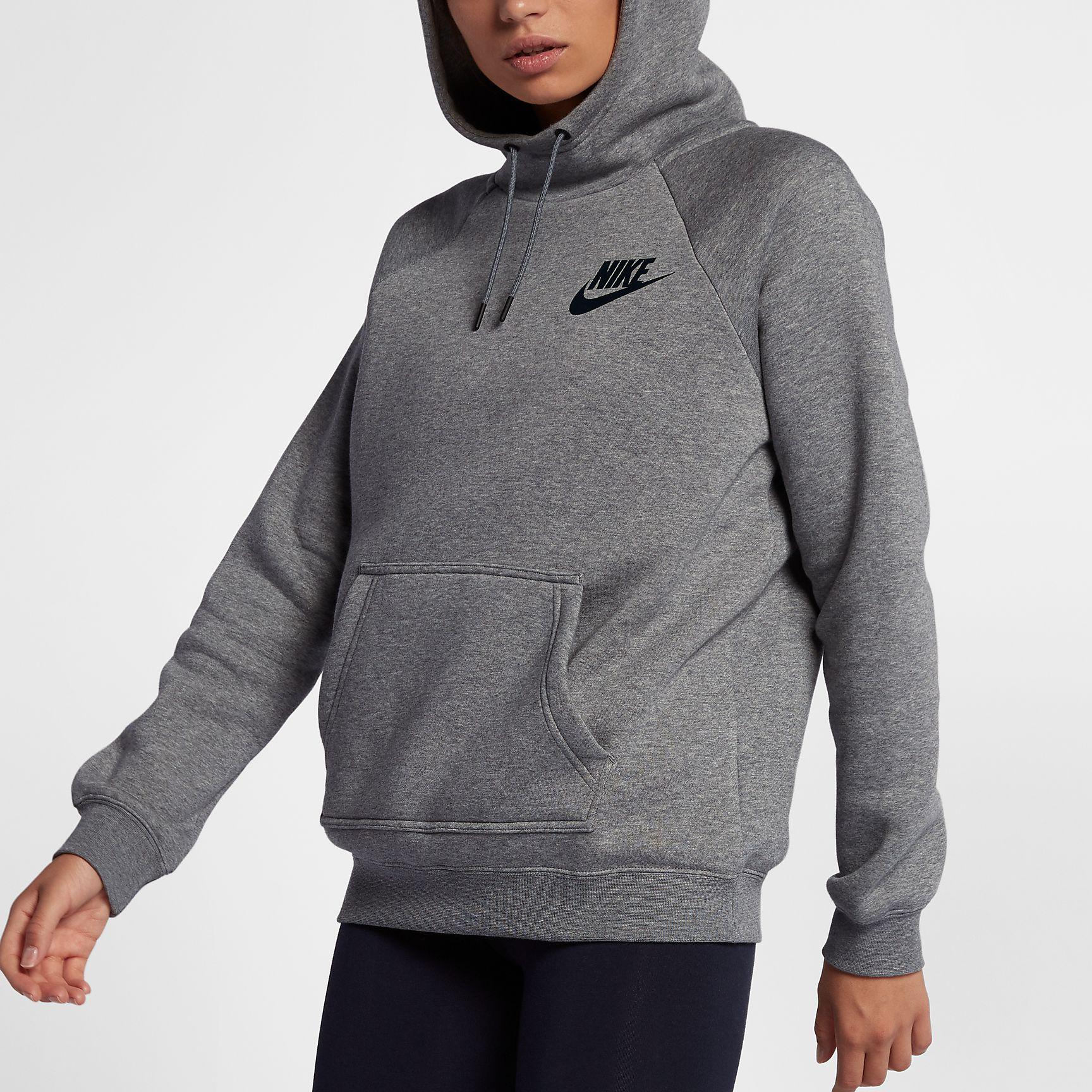 76e48c08df20 Nike Womens Sportswear Rally Hoodie - Carbon Heather Cool Grey Black ...