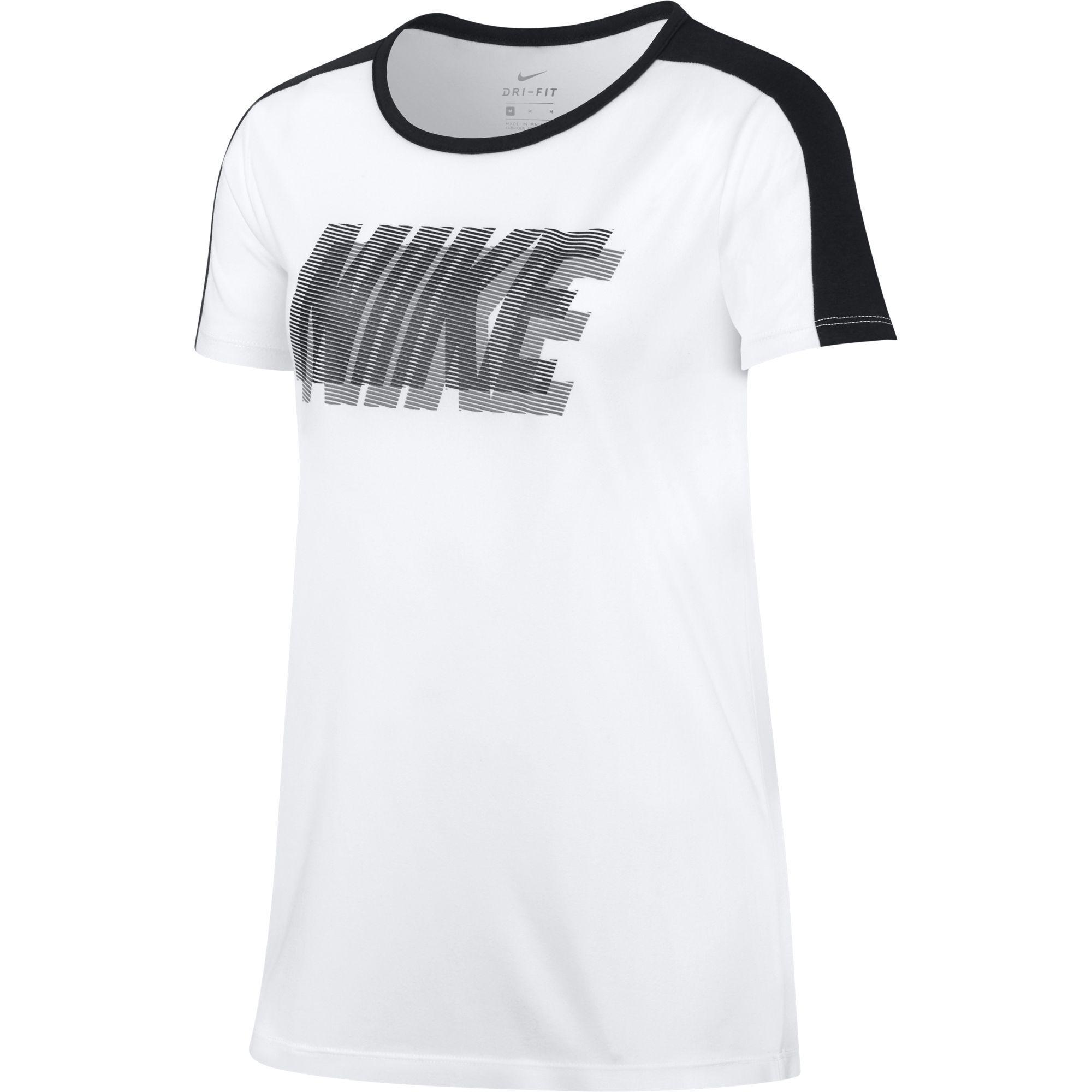 Nike Girls Dry Training T-Shirt - White/Black - Tennisnuts.com