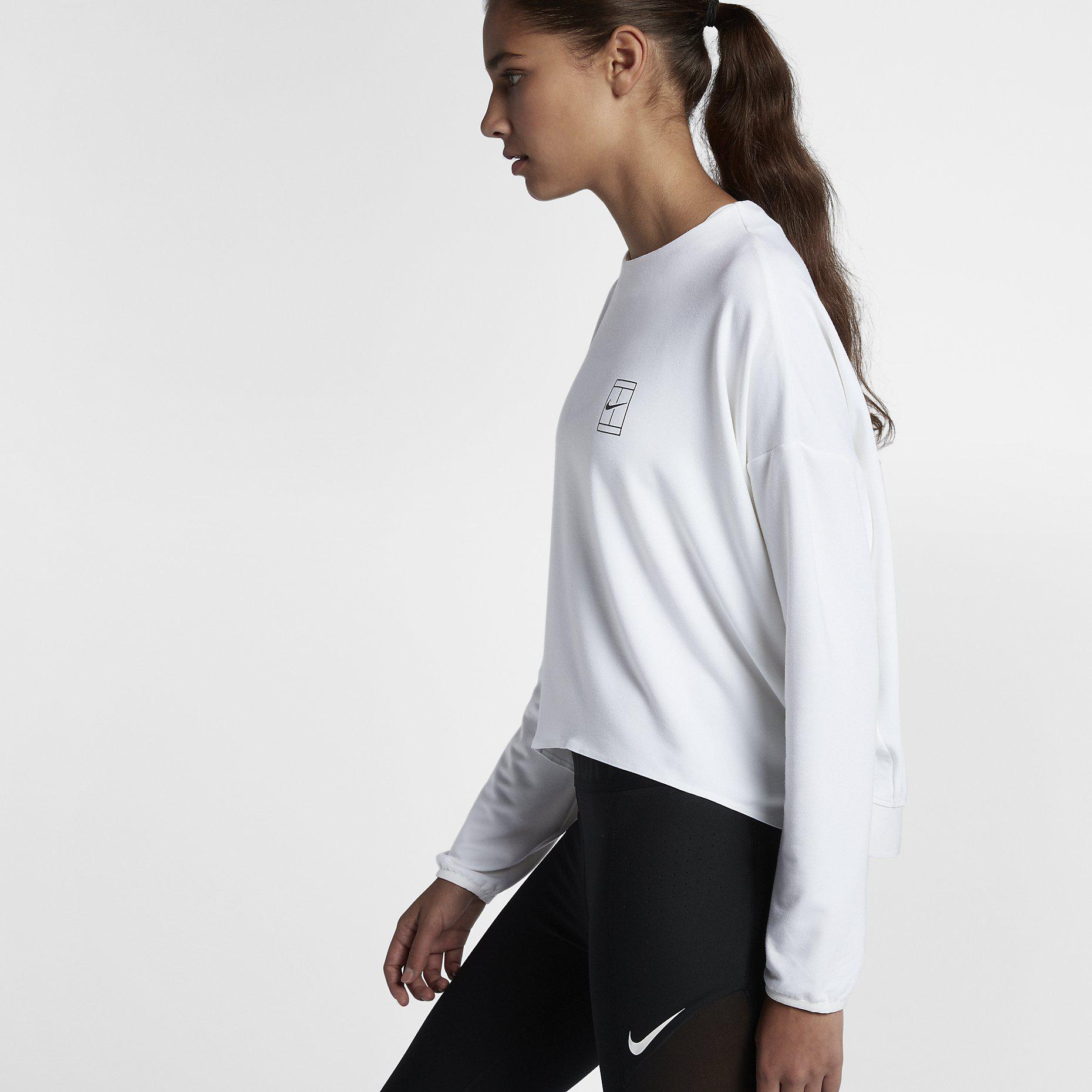 Nike Womens Dri-FIT Long Sleeve Tennis Top - White ...