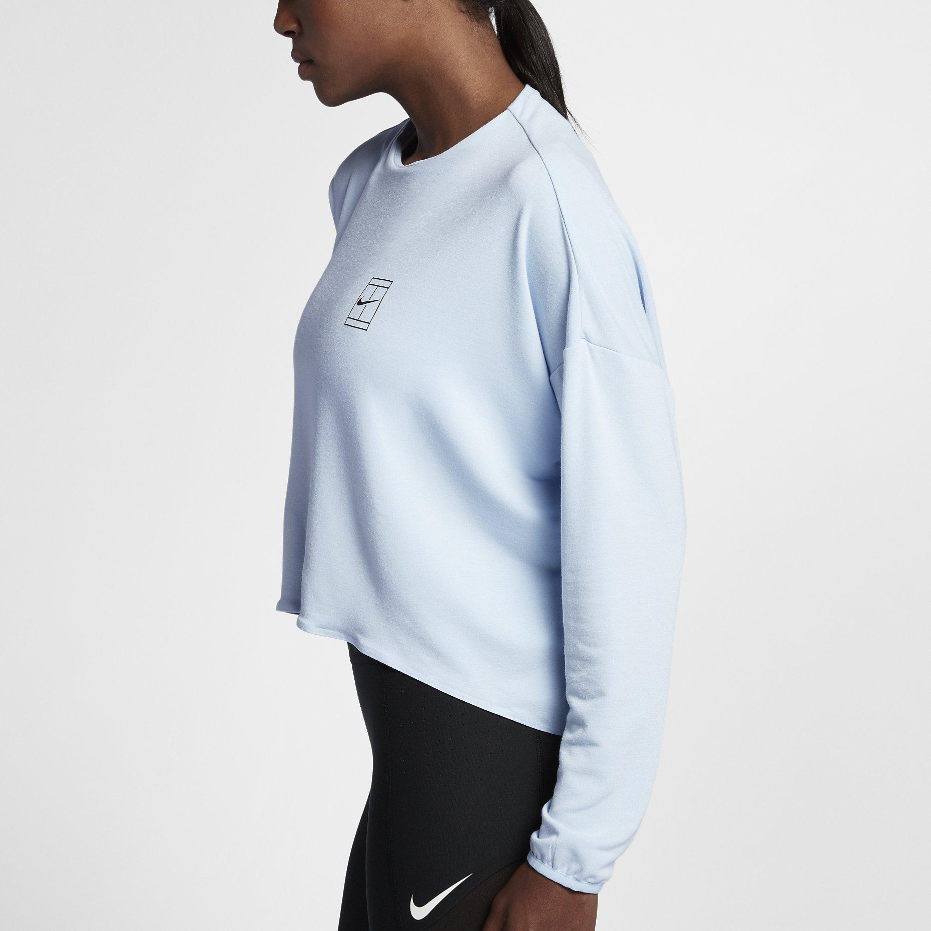 Nike Womens Dri-FIT Long Sleeve Tennis Top - Hydrogen Blue ...