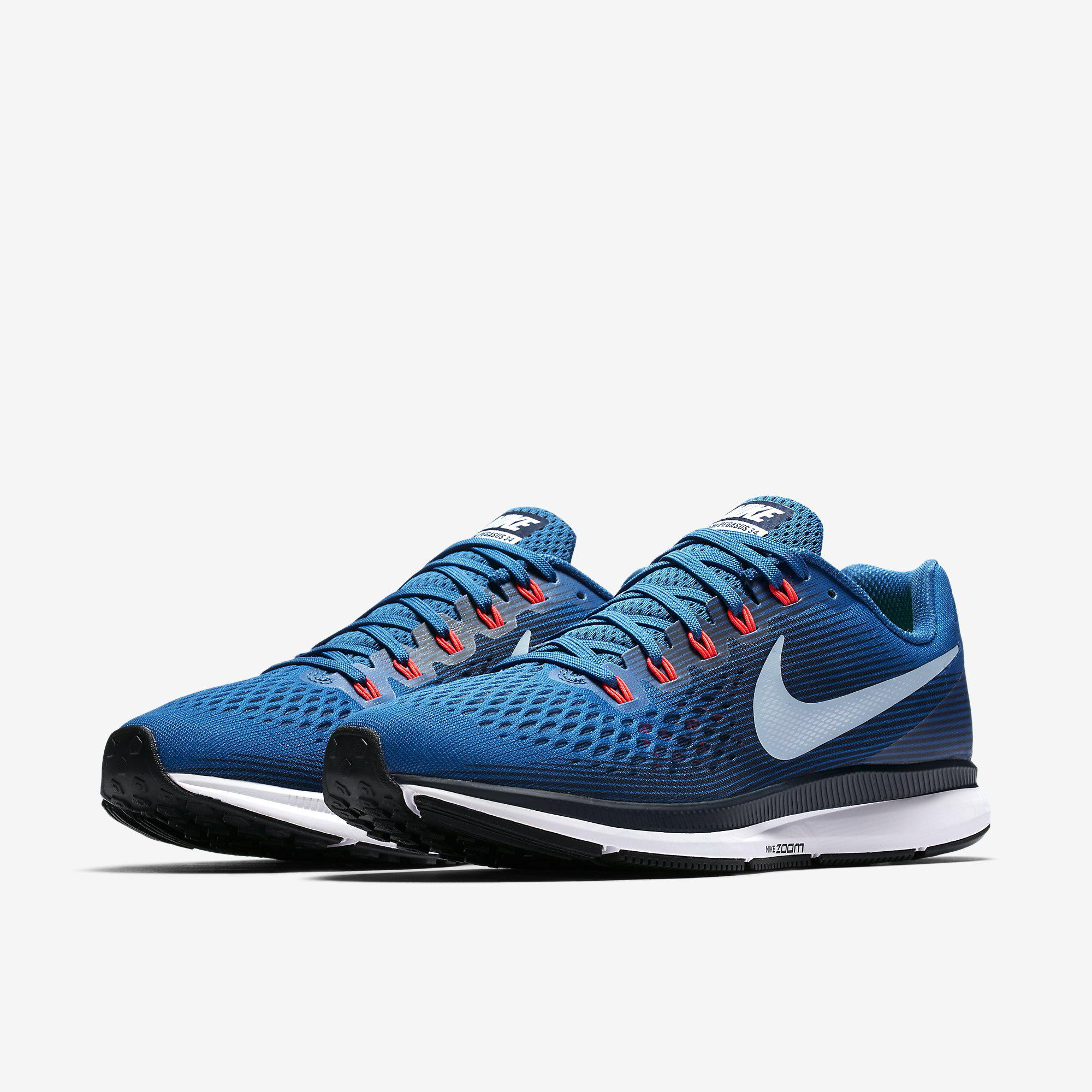 half off 726cb 13ab7 Nike Mens Air Zoom Pegasus 34 Running Shoes - Blue Jay