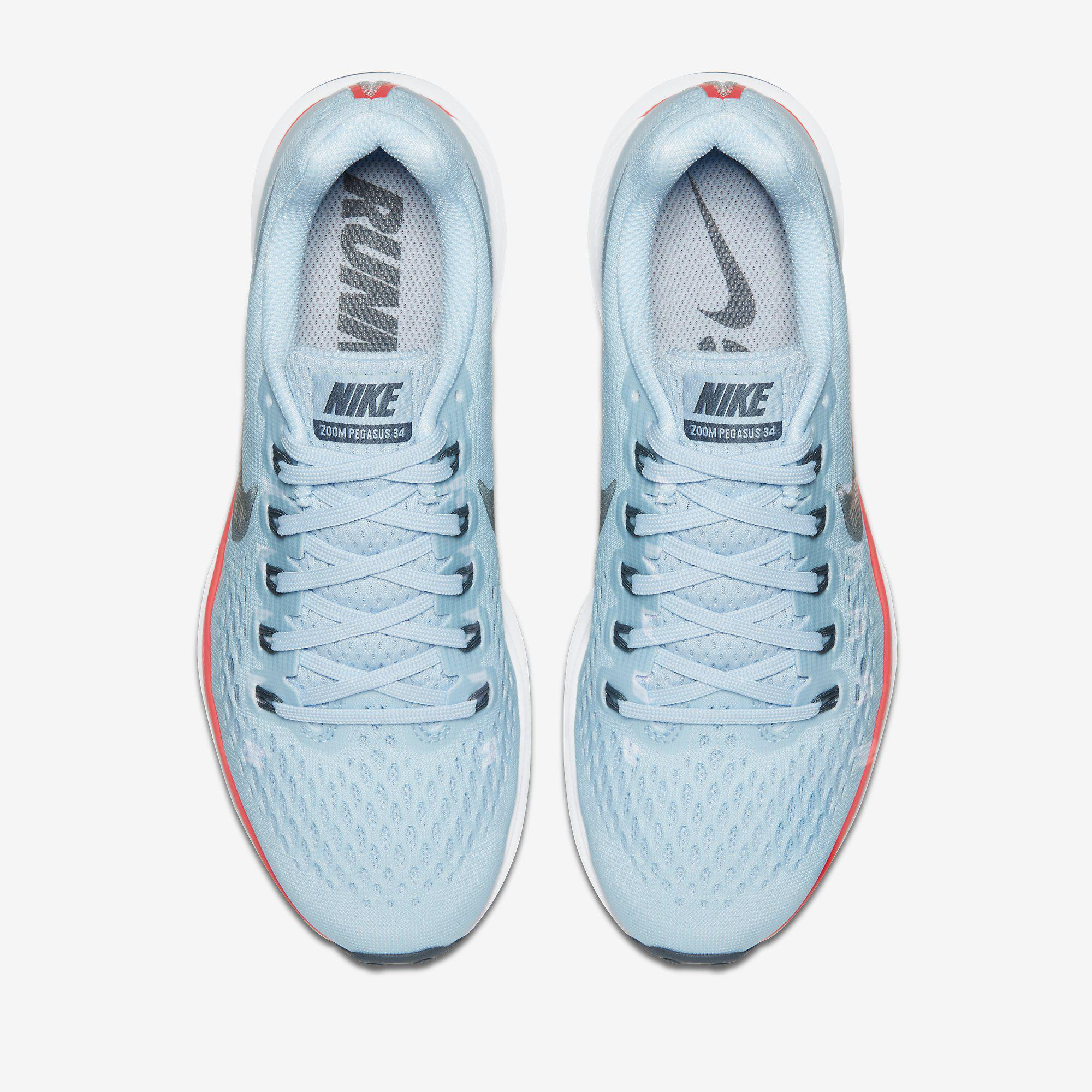 6eb4bbea0bc7 Nike Womens Air Zoom Pegasus 34 Running Shoes - Ice Blue ...