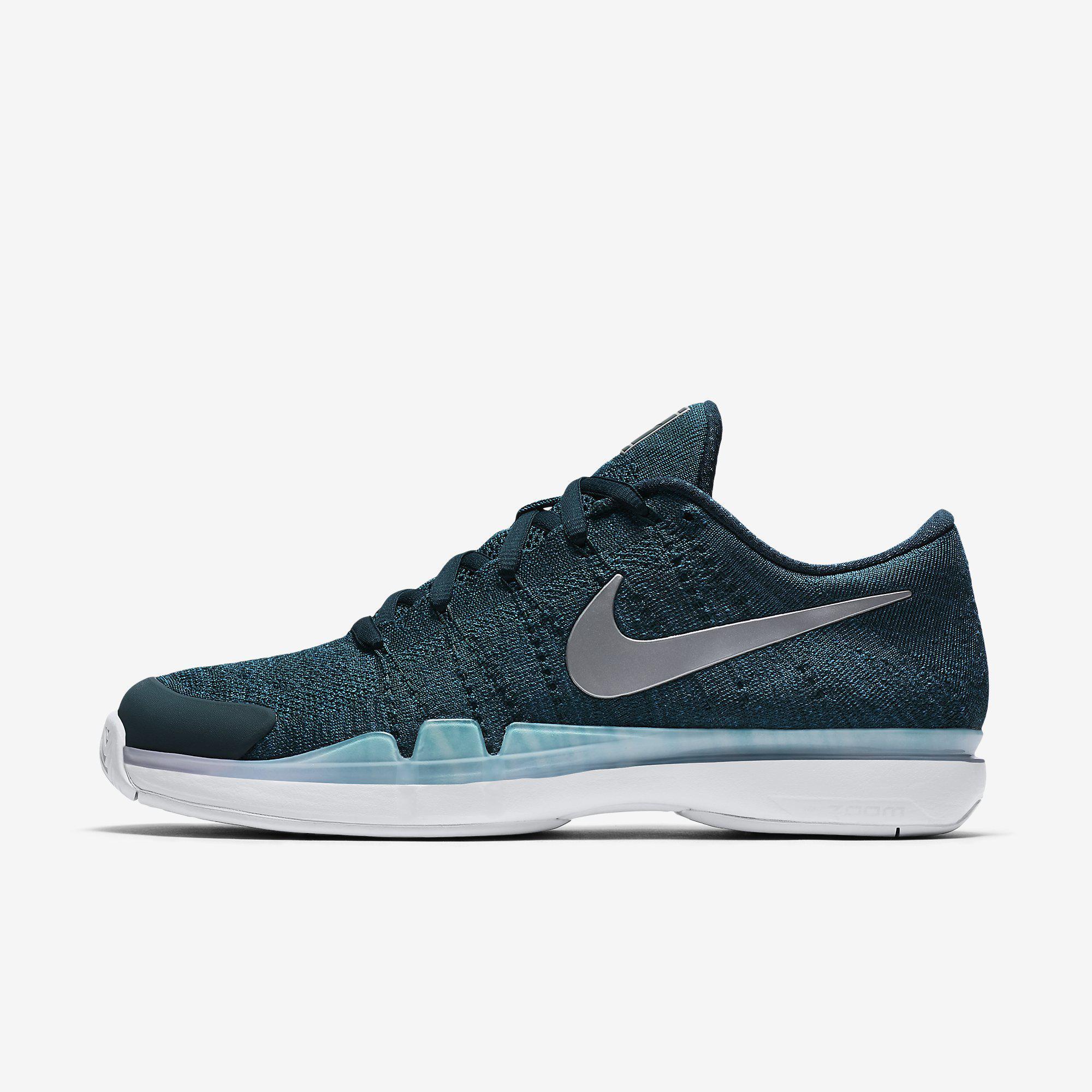 e249a83a1262 Nike Mens Zoom Vapor 9.5 Flyknit Tennis Shoes - Dark Atomic Teal -  Tennisnuts.com