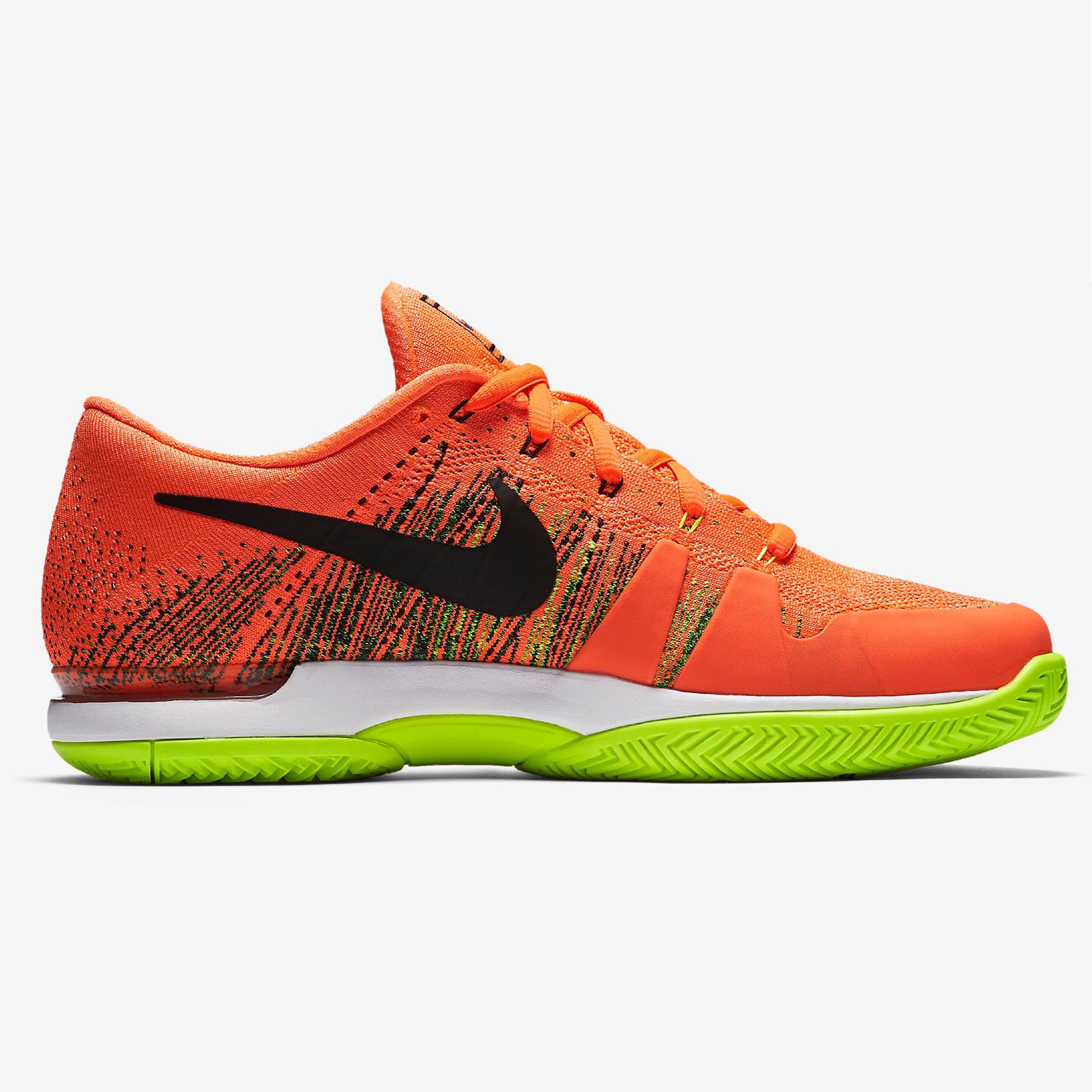 huge discount 57228 81e95 Nike Mens Zoom Vapor 9.5 Flyknit Tennis Shoes - Hyper Orange