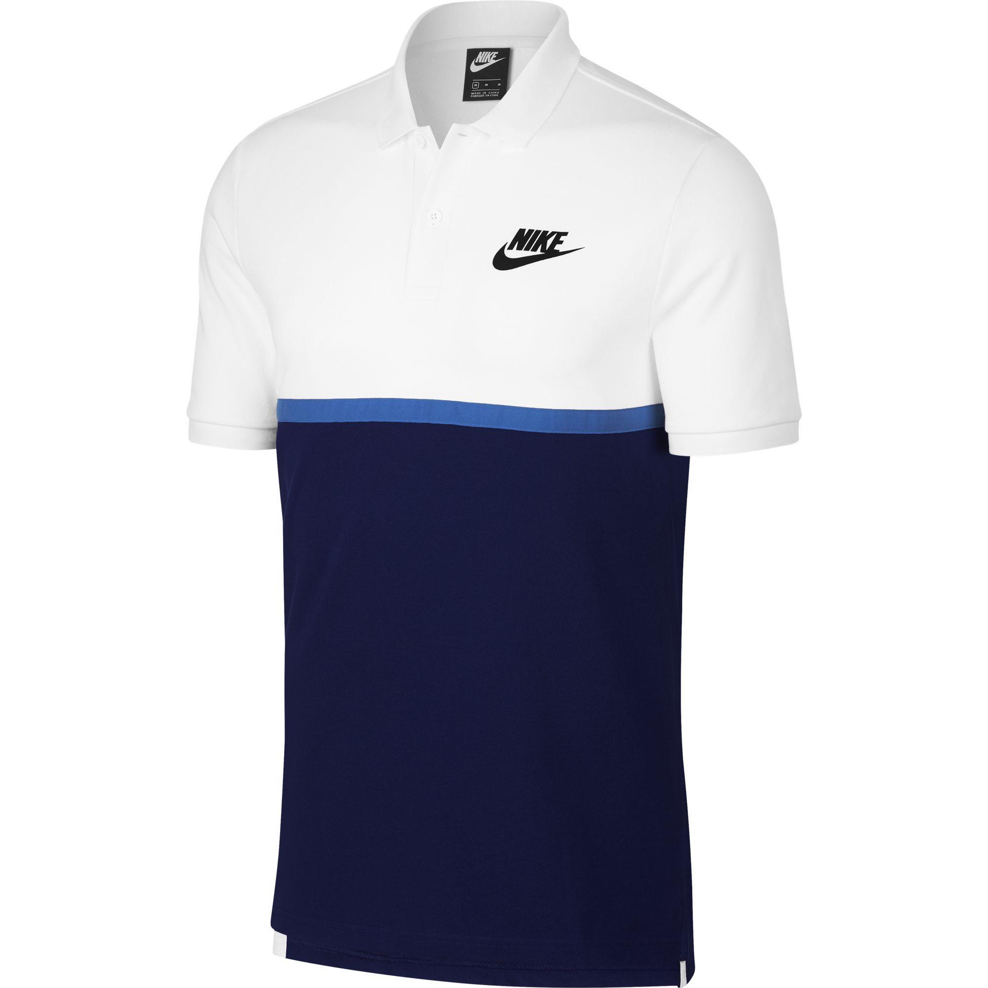 a38afba07 Nike Mens Sportswear Polo - White/Blue - Tennisnuts.com