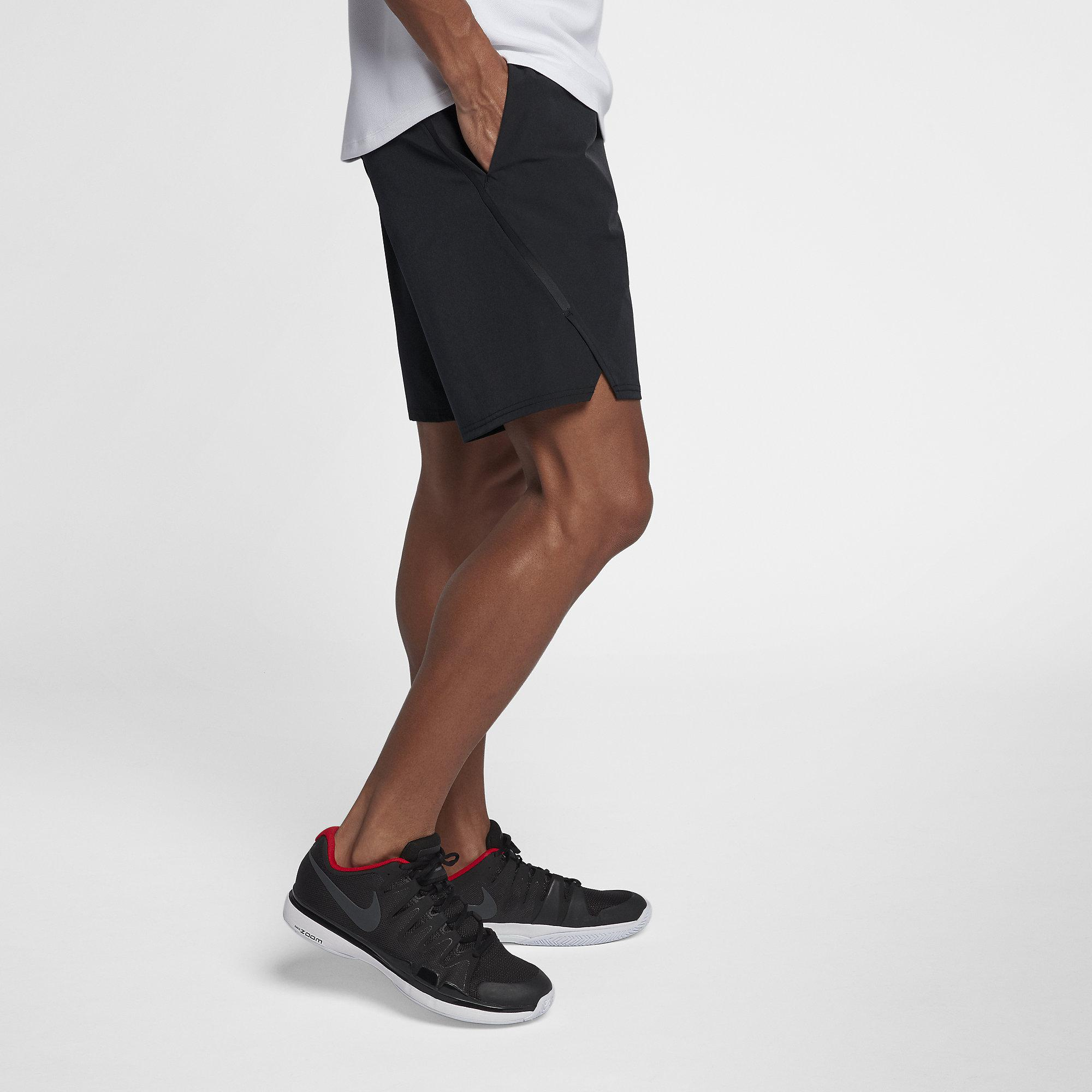3cd2ac0f78ef8 Nike Mens Flex Ace 9 Inch Shorts - Black White - Tennisnuts.com