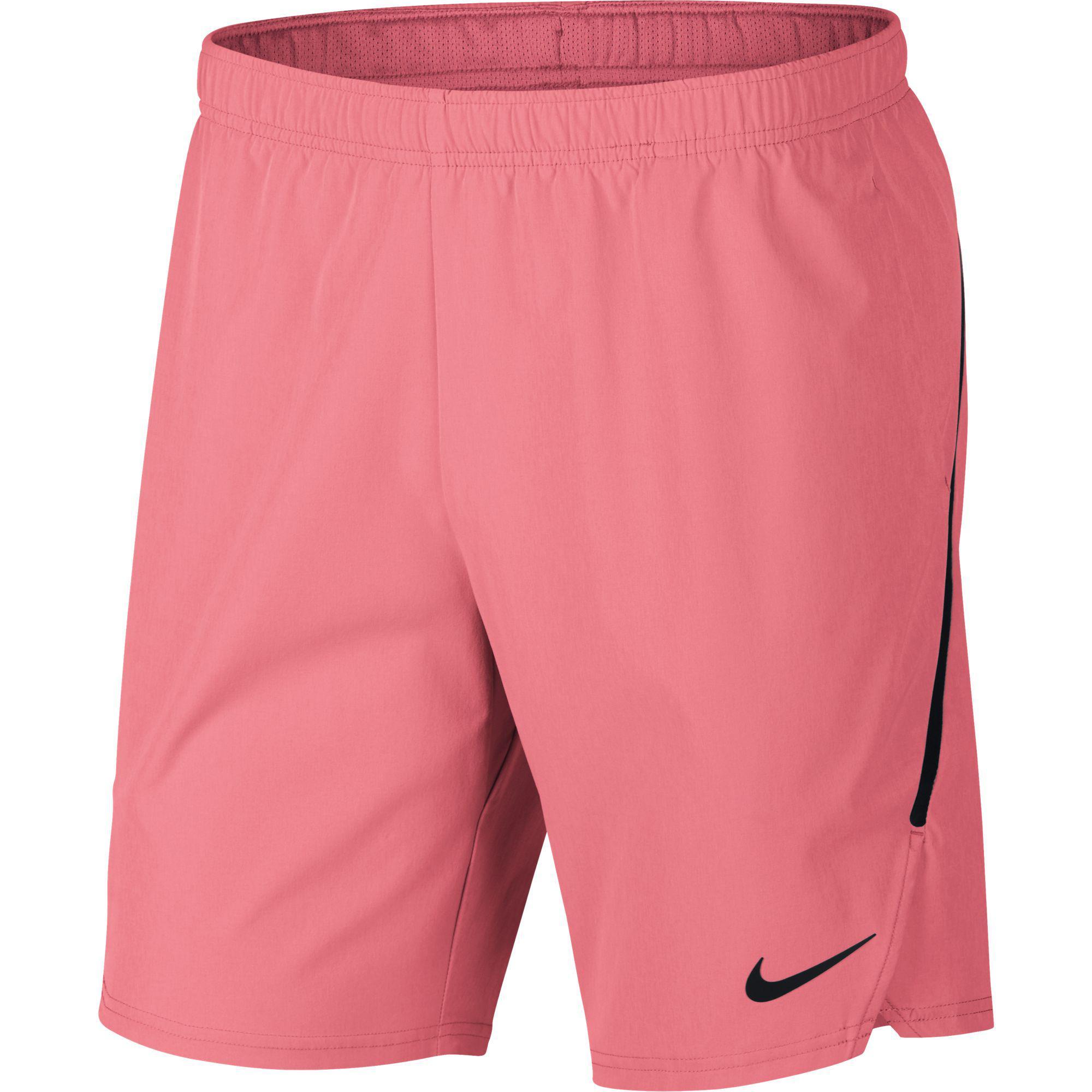 hot sales 1642b c2ed3 Nike Mens Flex Ace 9 Inch Shorts - Lava Glow Black - Tennisnuts.com