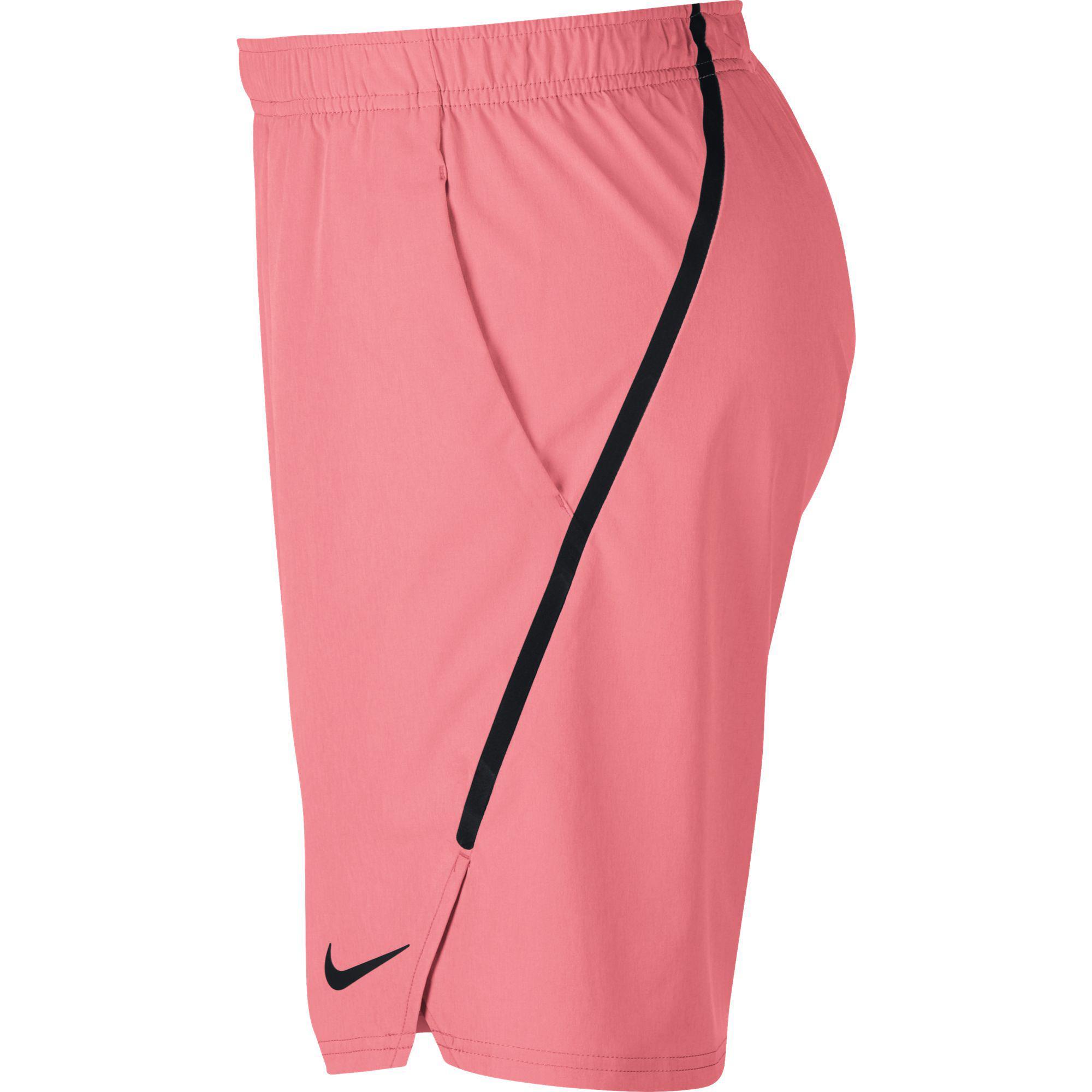 Nike Mens Flex Ace 9 Inch Shorts - Lava Glow/Black - Tennisnuts.com