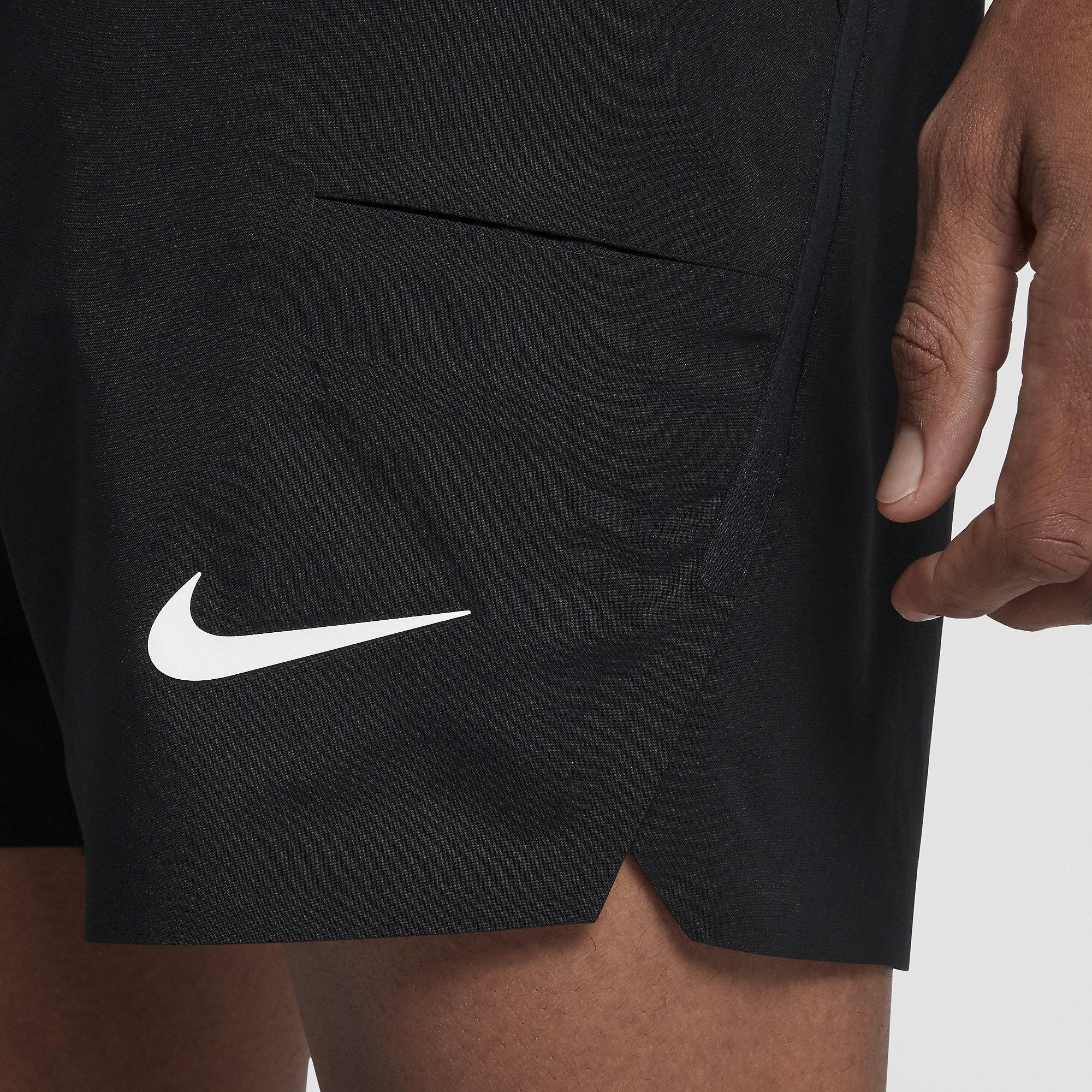 fbccc54f8420 Nike Mens Court Flex Ace 7 Inch Shorts - Black - Tennisnuts.com