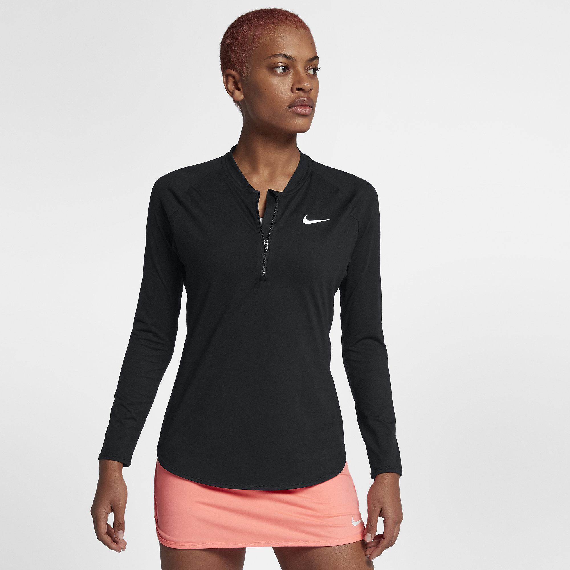 Nike Womens Pure Half-Zip Tennis Top - Black/White ...
