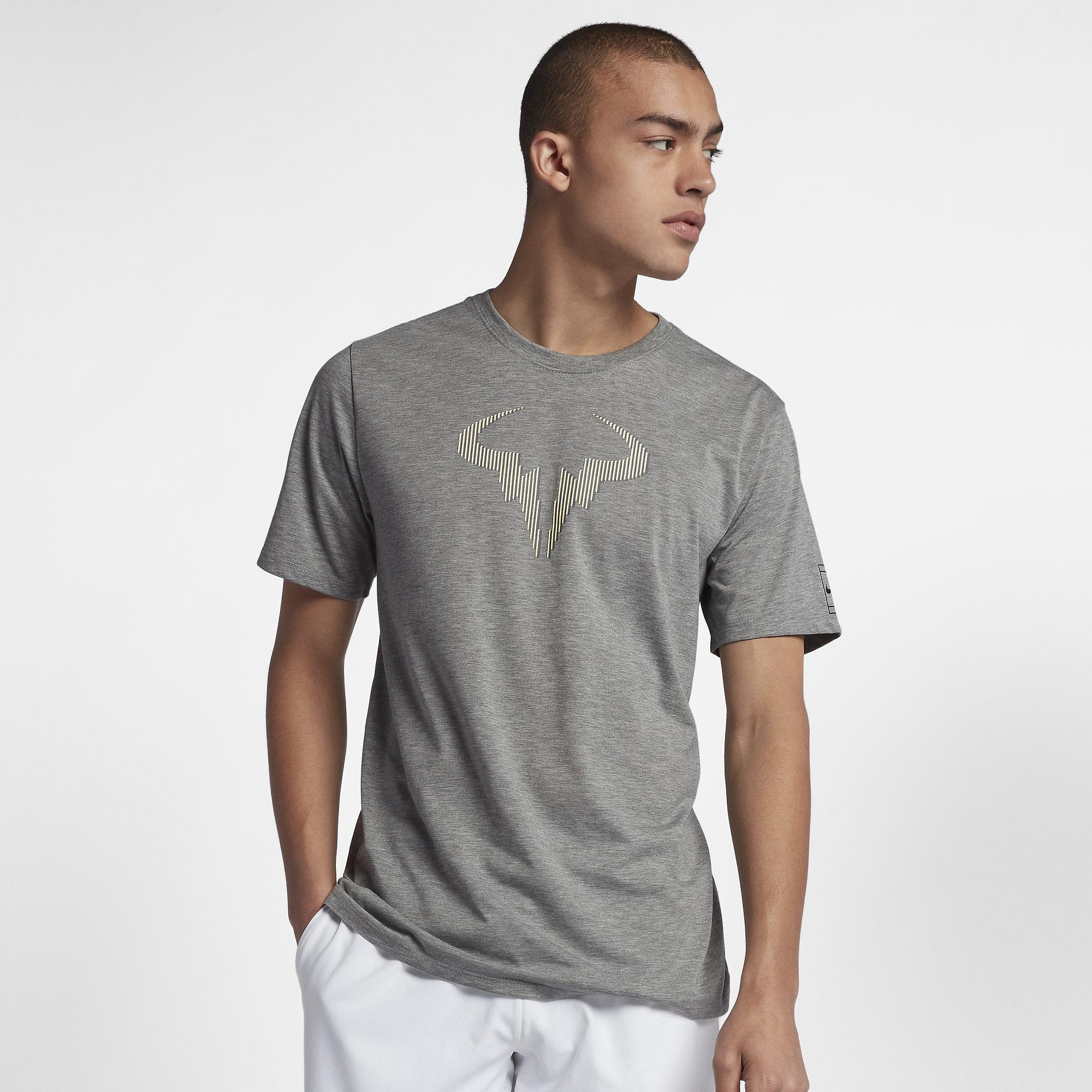 Nike mens dry rafa t shirt dark grey heather black for Mens heather grey t shirt