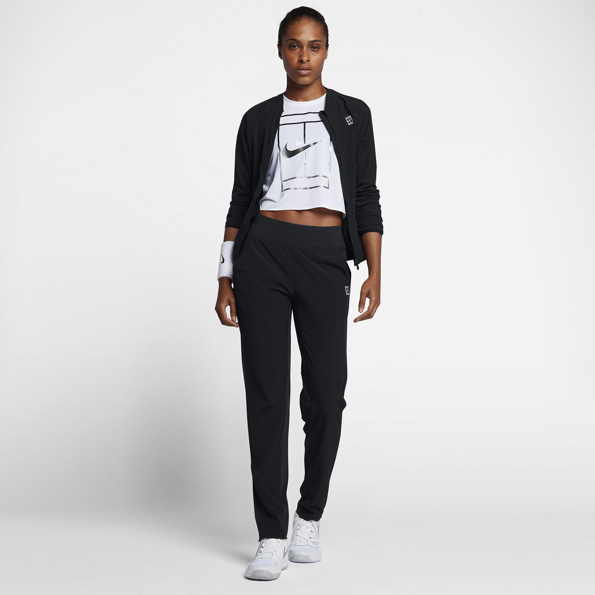 Nike Womens Tennis Warm Up Tracksuit Black White