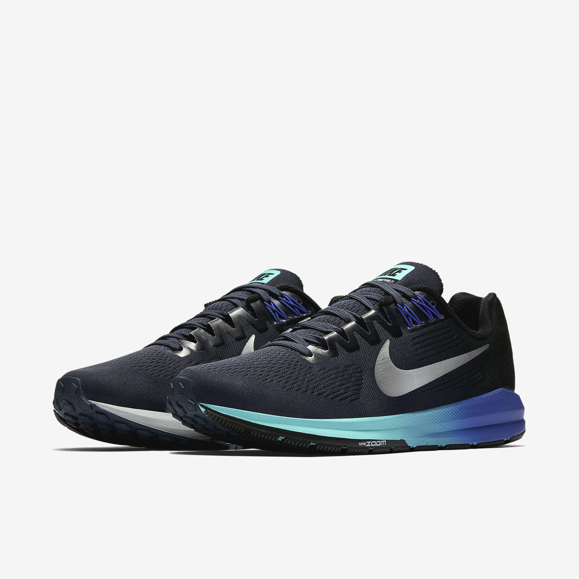 3bcb8508ac9 Nike Womens Zoom Structure 21 Running Shoes - Blue Silver Black ...