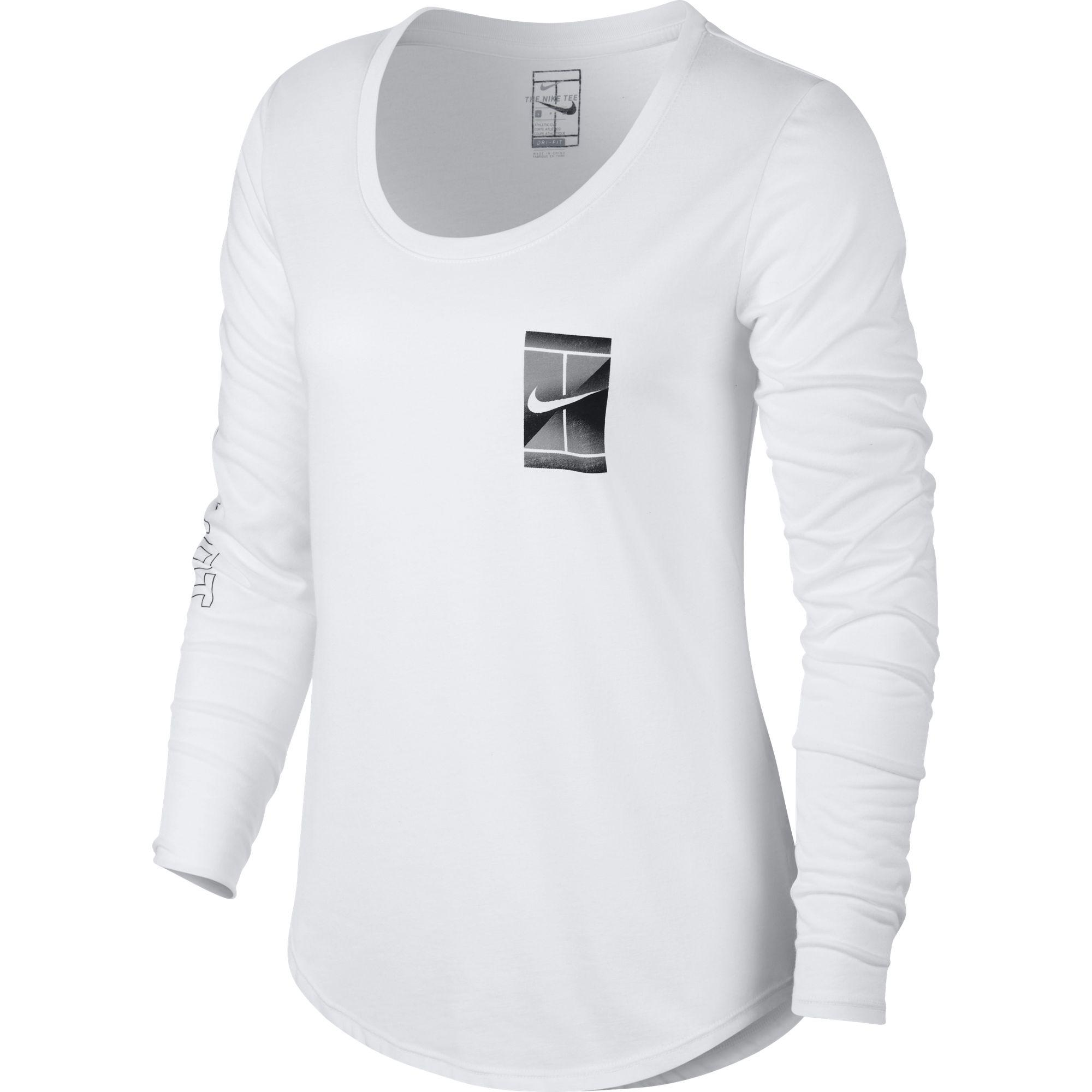 04d34423 Nike Womens Court Dry Long-Sleeve Tennis Top - White - Tennisnuts.com
