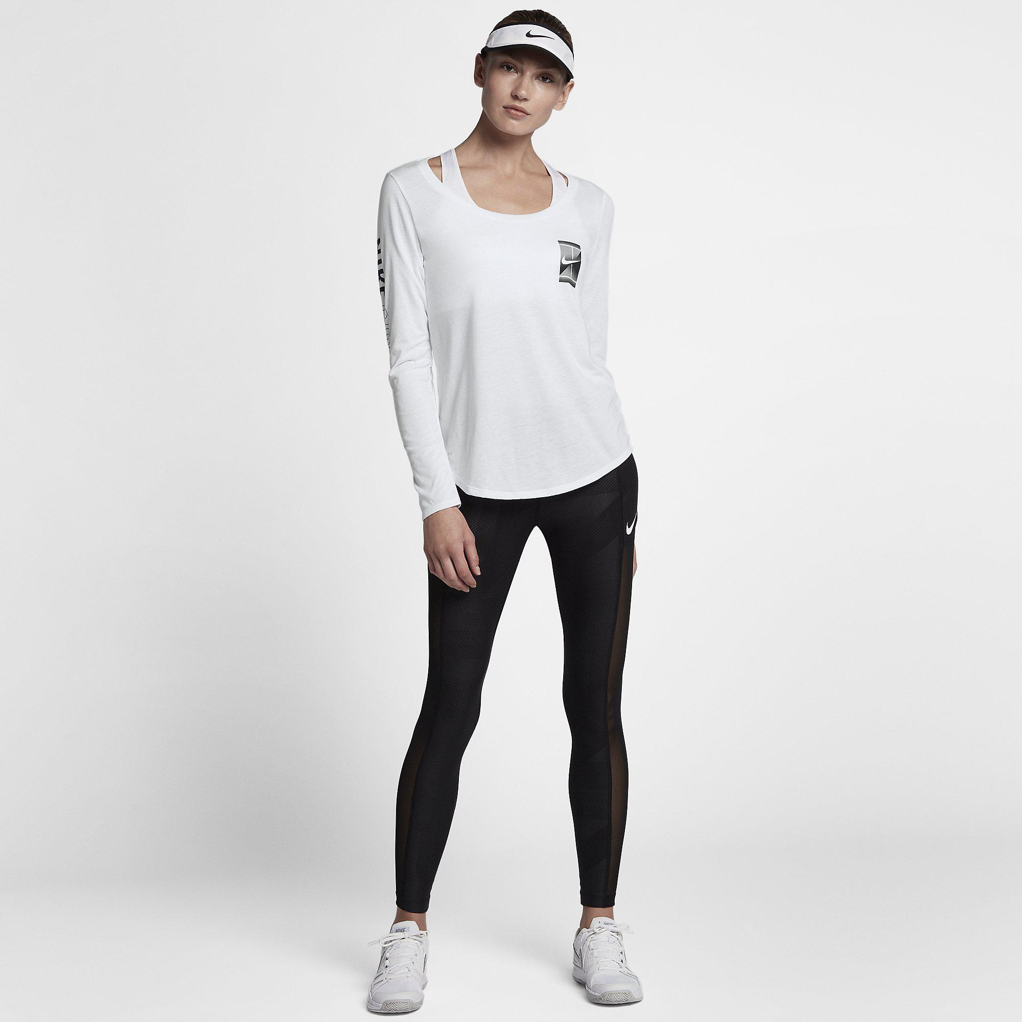 7faf4a8a9d51 Nike Womens Court Dry Long-Sleeve Tennis Top - White - Tennisnuts.com