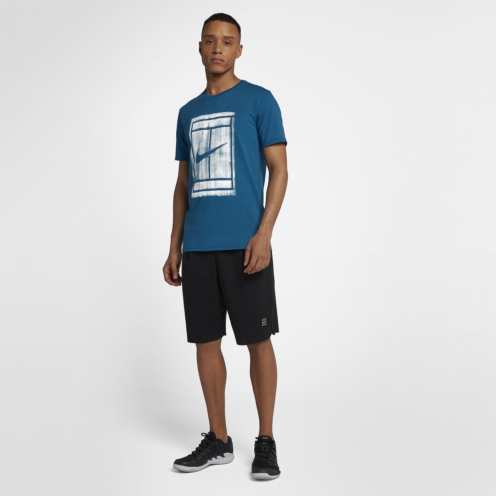 73bb3889 Nike Mens Court Graphic T-Shirt - Green Abyss/White - Tennisnuts.com