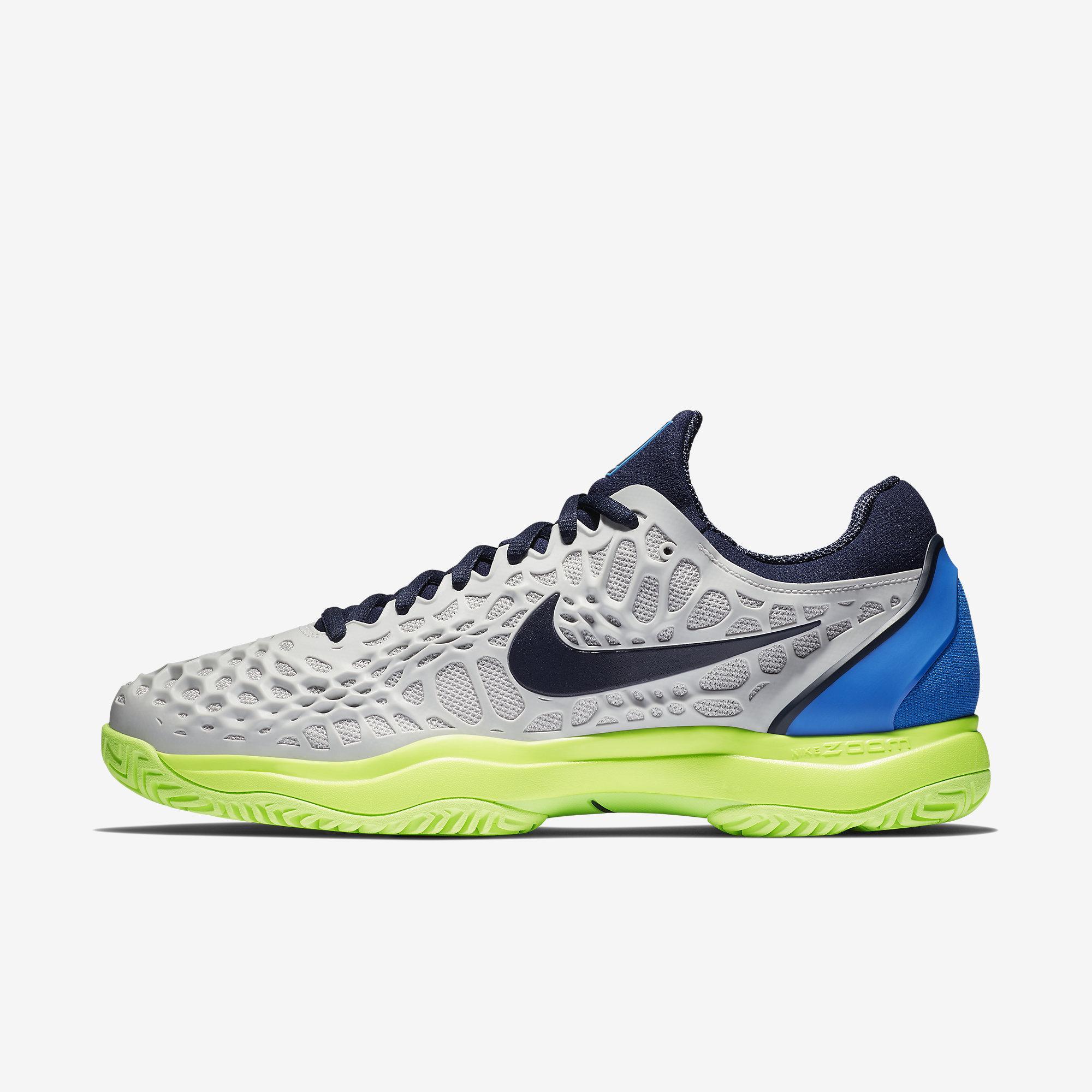 best website 8aeb6 0d3a9 Nike Mens Zoom Cage 3 Tennis Shoes - Vast Grey Signal Blue Volt  Glow Blackened Blue - Tennisnuts.com