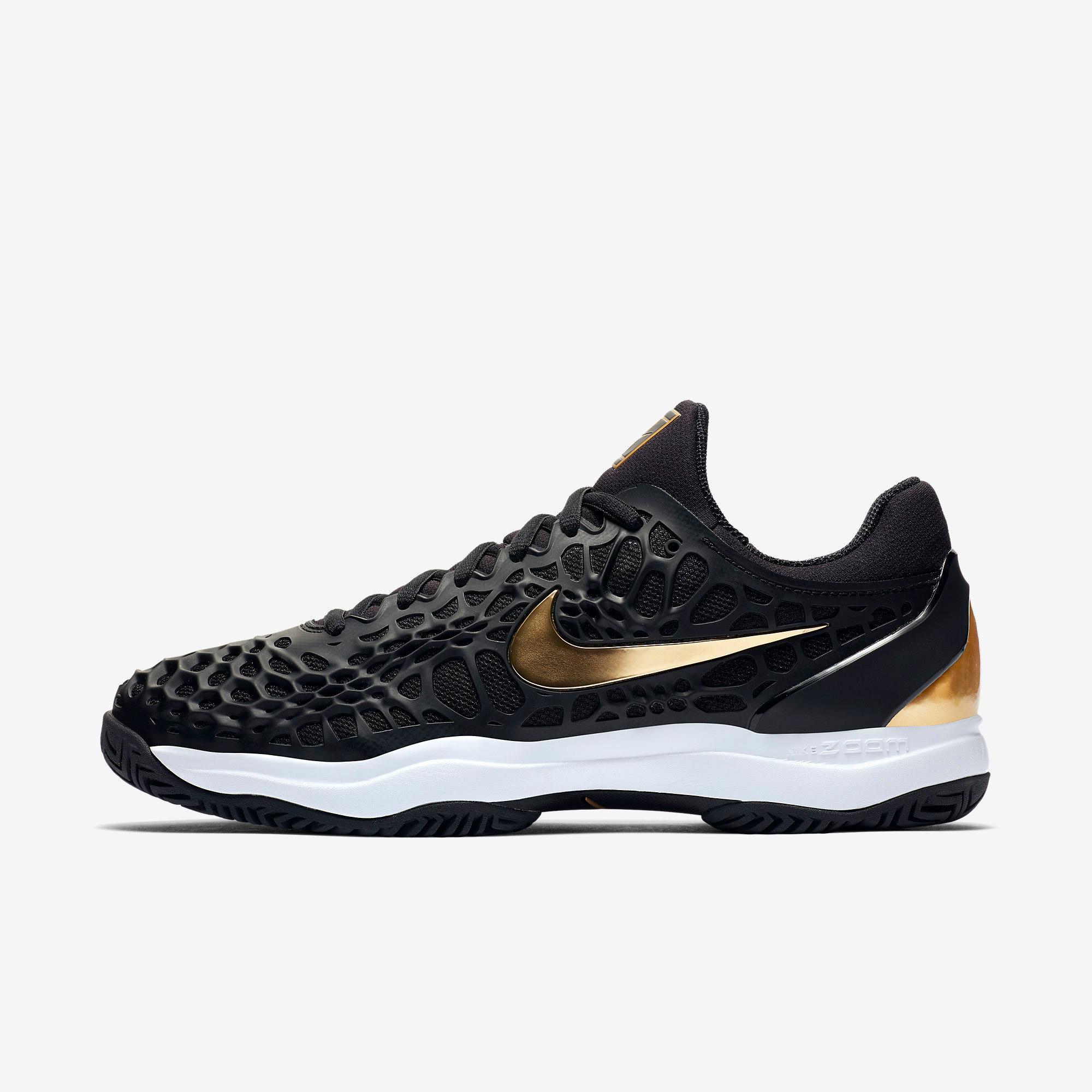 Nike Mens Zoom Cage 3 Tennis Shoes - Black/Metallic Gold