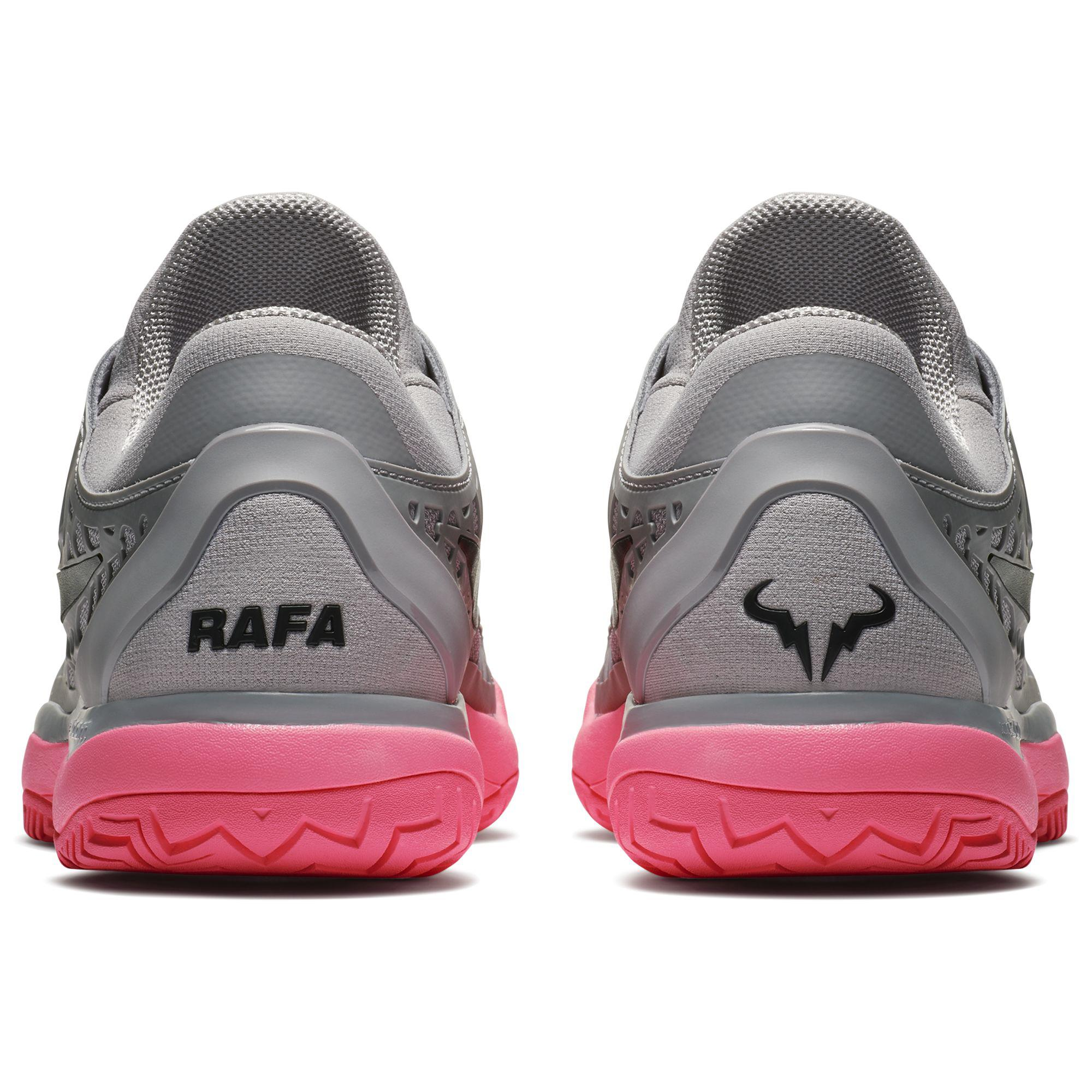 huge selection of acfee d7847 Nike Mens Air Zoom Cage 3 Rafa Tennis Shoes - Grey Sunset Pulse