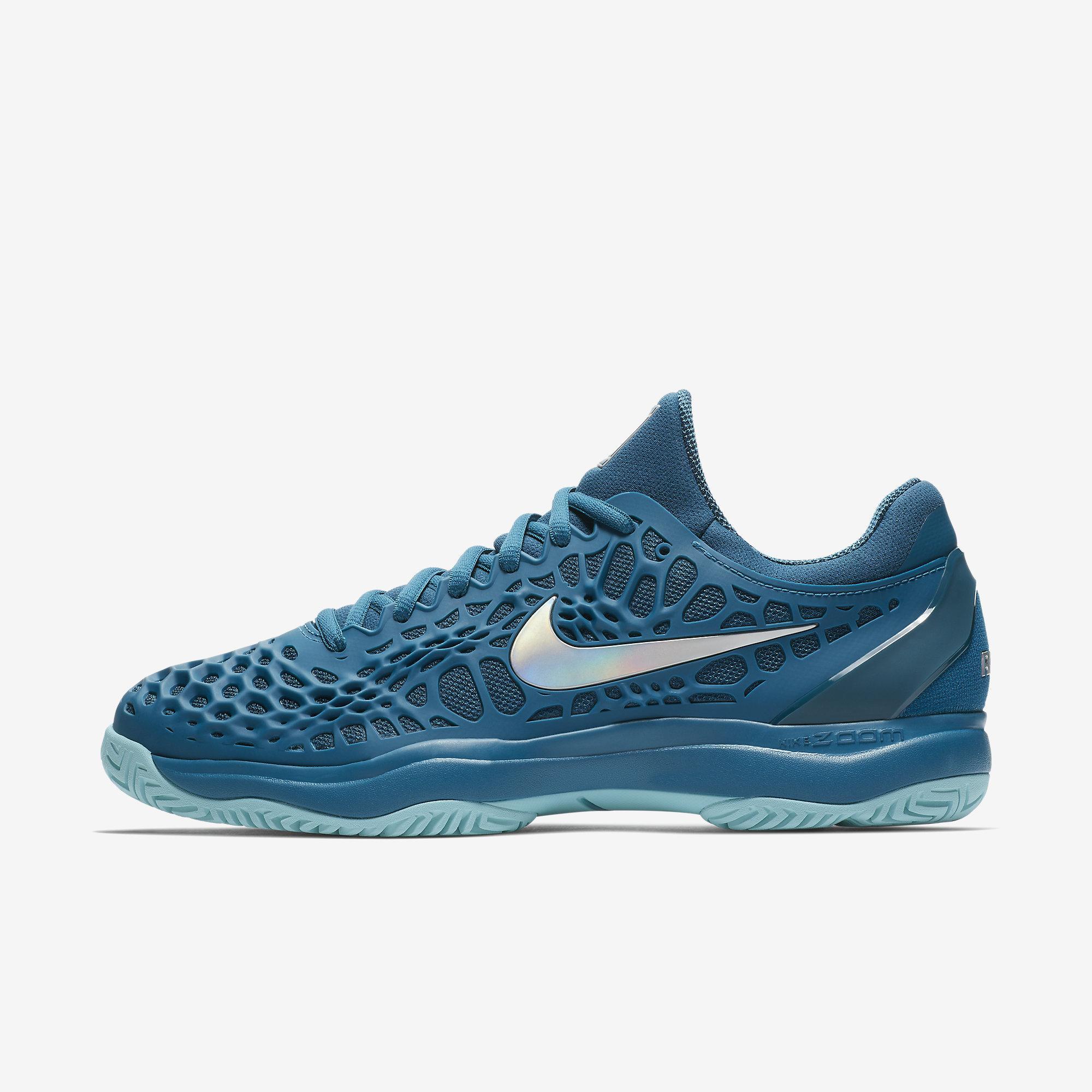 super popular 33e2a 085eb Nike Mens Zoom Cage 3 Rafa Tennis Shoes - Green Abyss Metallic Silver -  Tennisnuts.com