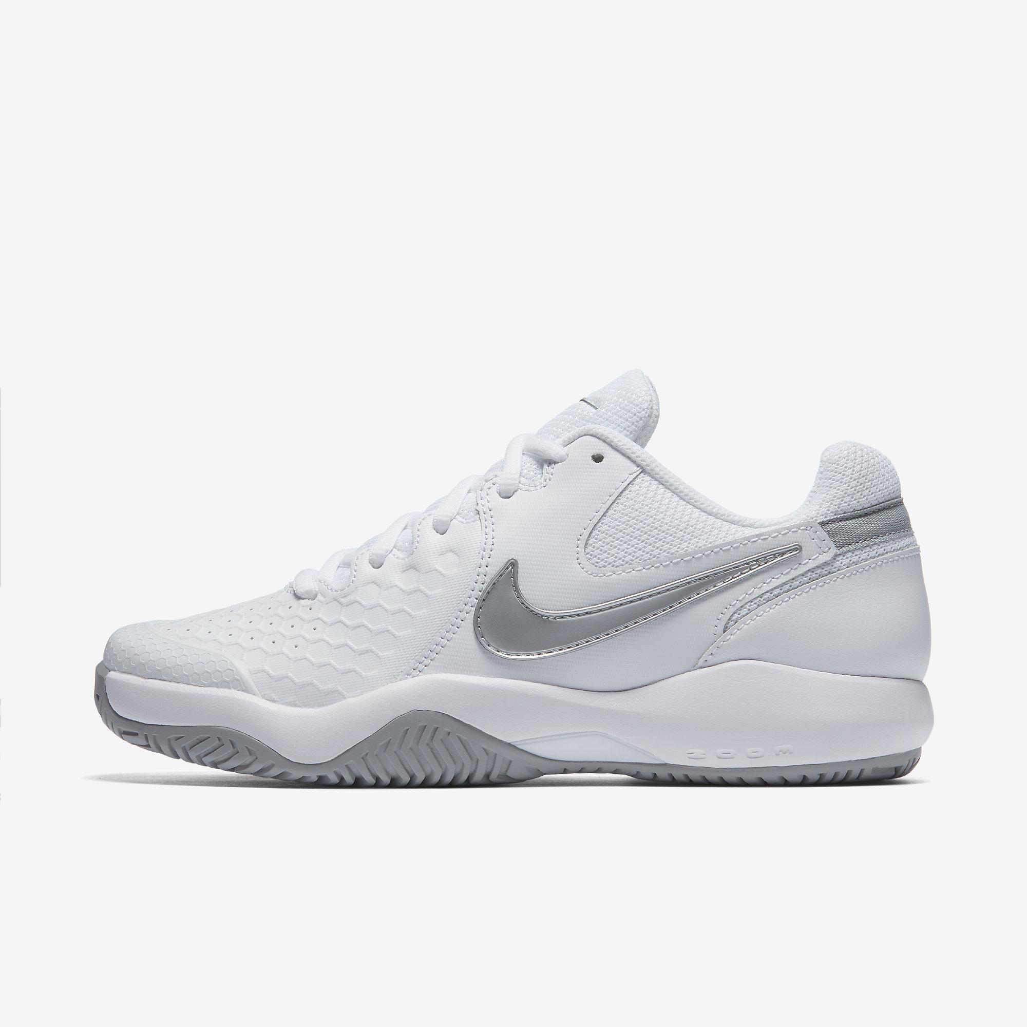 12c93e95d998d Nike Womens Air Zoom Resistance Tennis Shoes - White Metallic Silver -  Tennisnuts.com