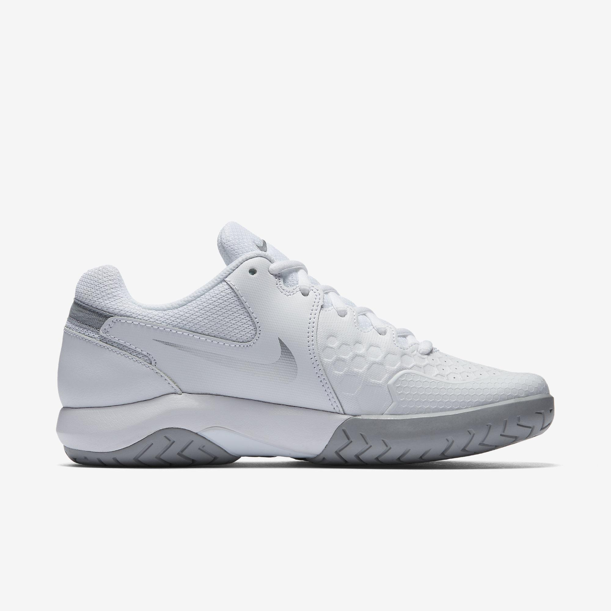 6d112063b7bc7 Nike Womens Air Zoom Resistance Tennis Shoes - White Metallic Silver ...